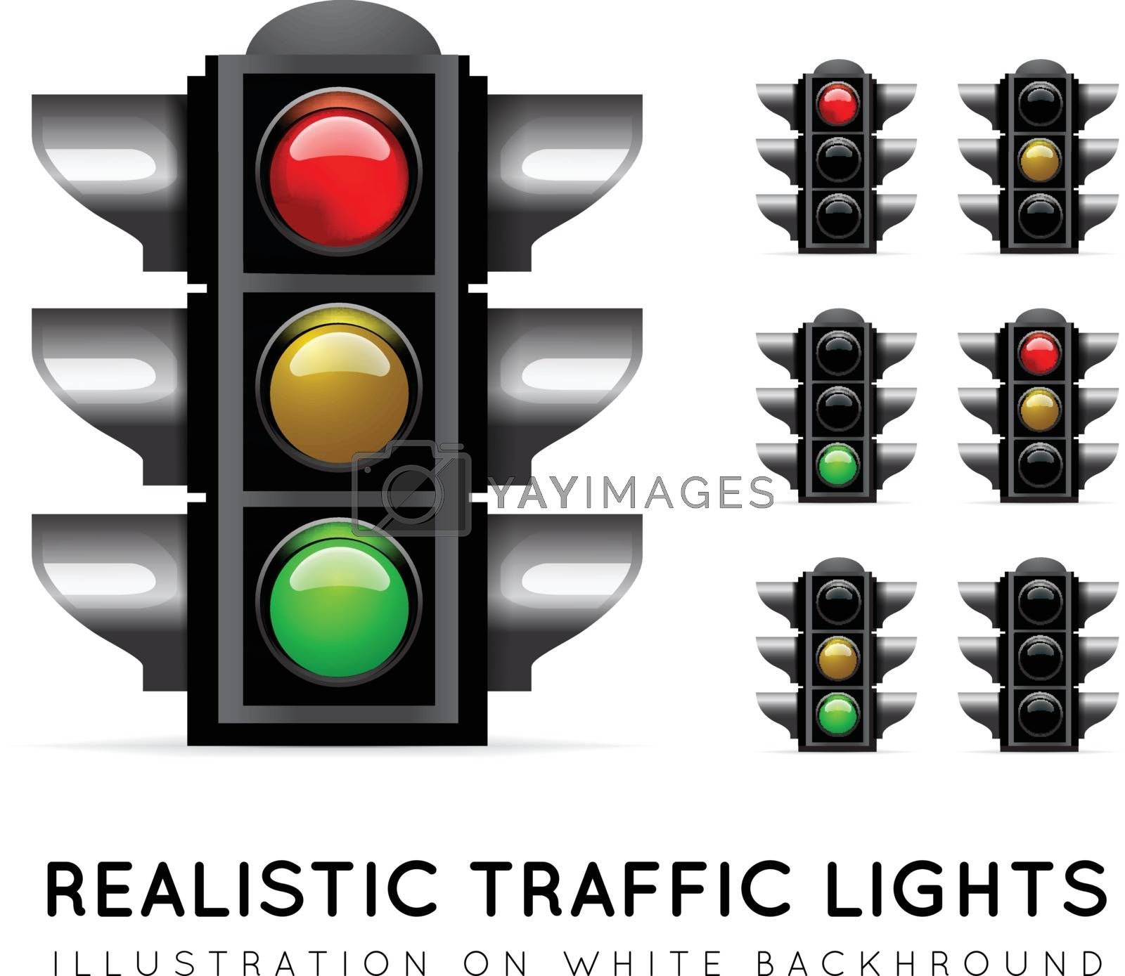 Realistic traffic light on a white background, in various color variations. Stoplight vector illustration