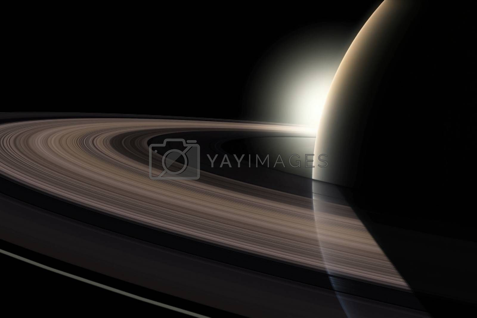The planet of Saturn. Rings of the planet Saturn. Computer graphics by Nirkov