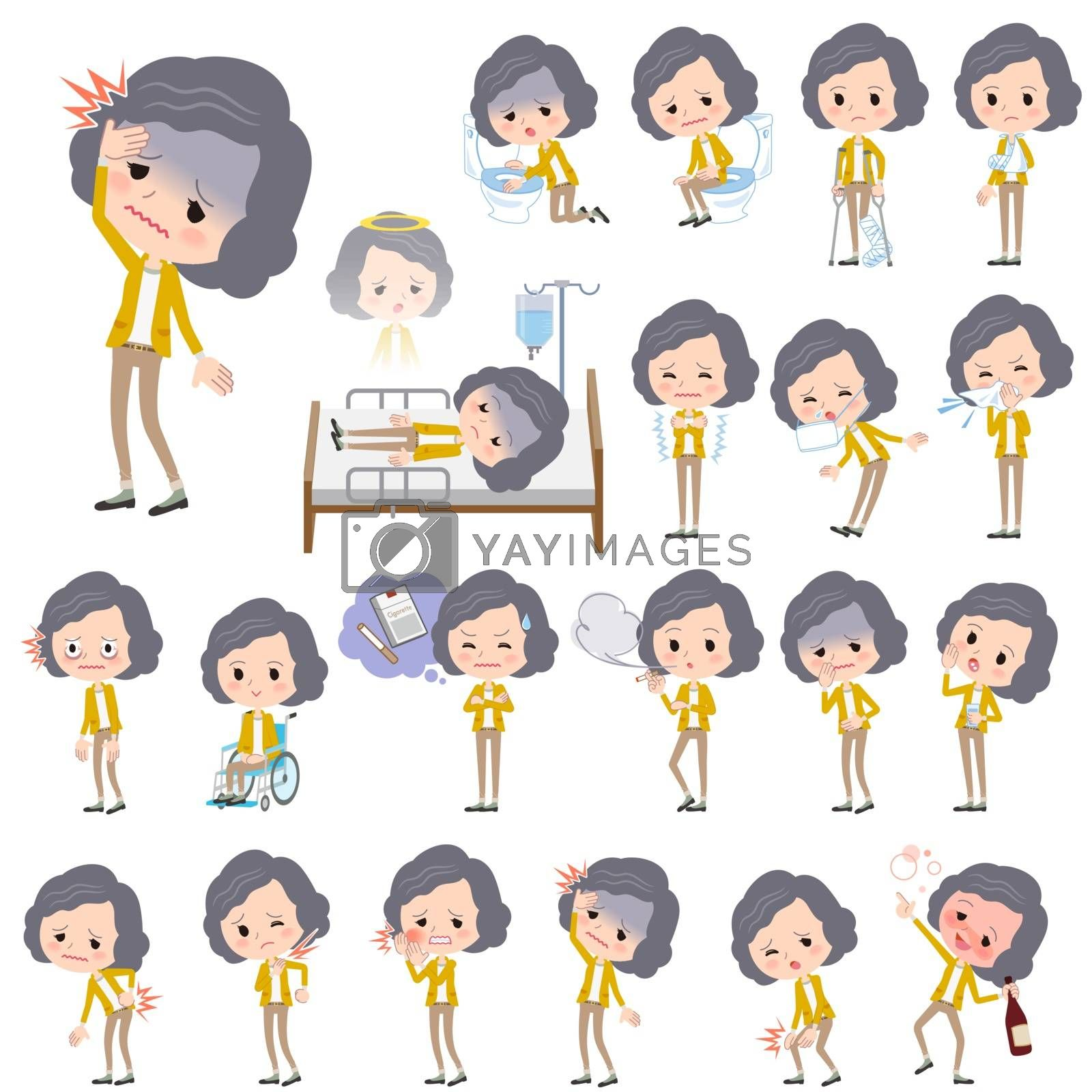 Set of various poses of Yellow jacket Middle woman About the sickness