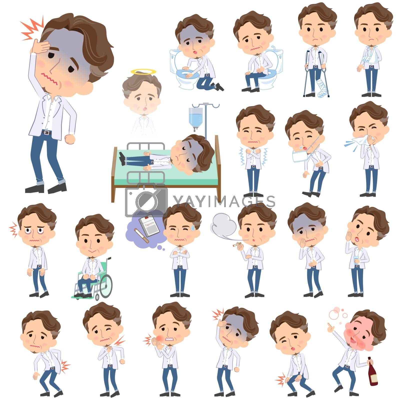 Set of various poses of wild Middle aged man sickness