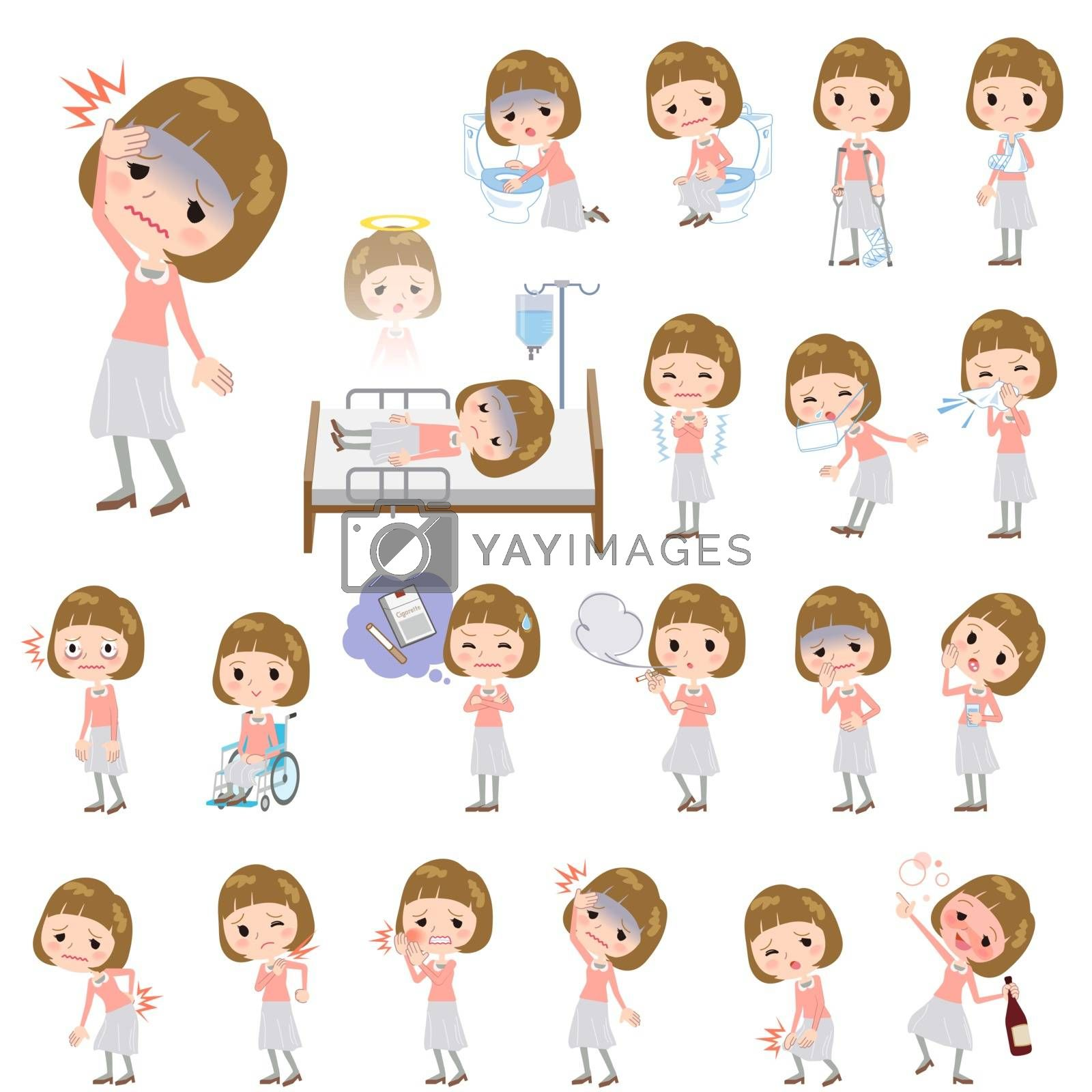 Set of various poses of Straight bangs hair pink blouse women About the sickness