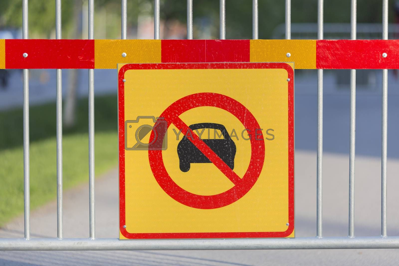 Cars Not Allowed Sign on Fence.
