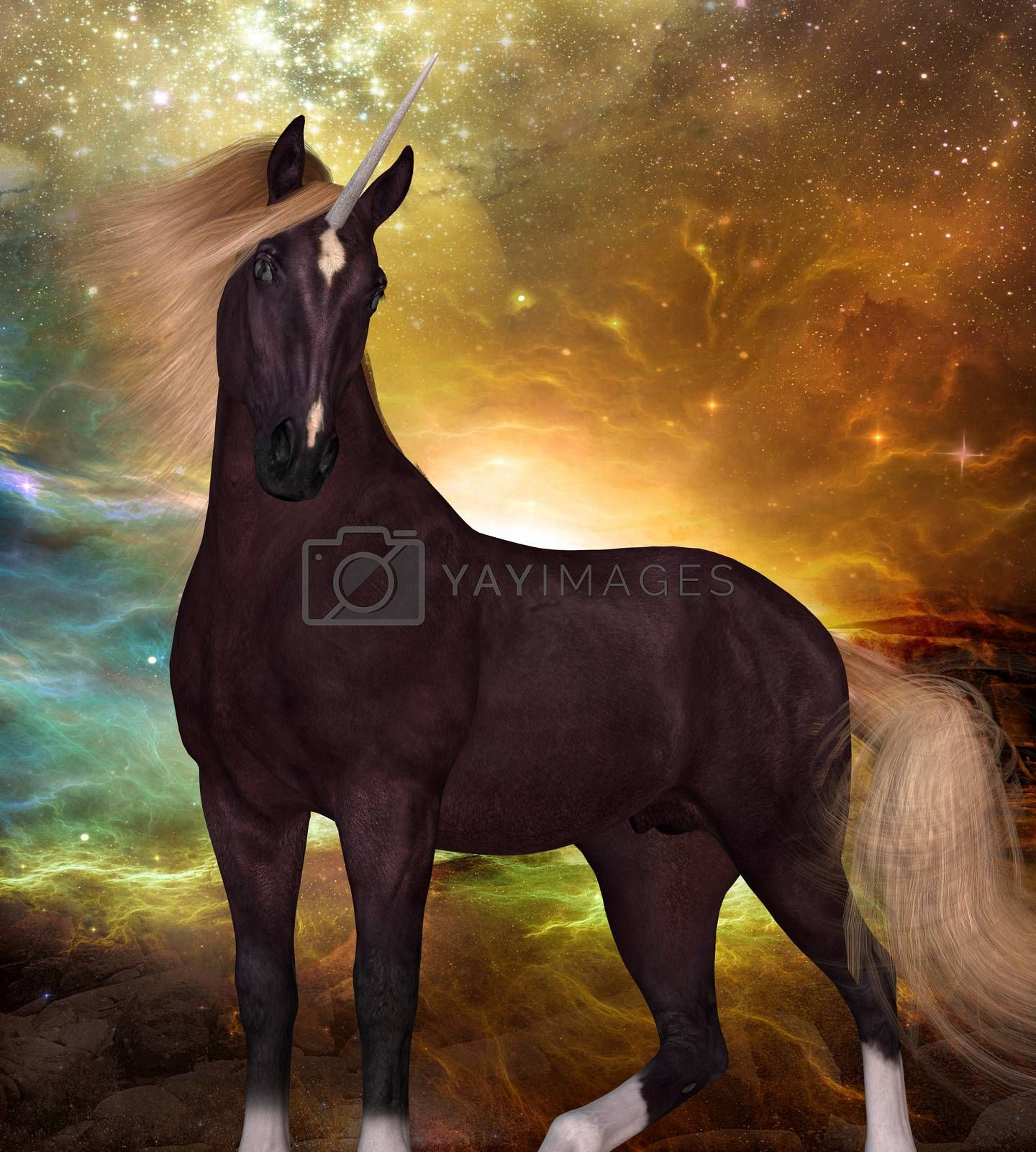 A Unicorn is a creature of myth and fantasy and has cloven hooves, forehead horn and a beard.
