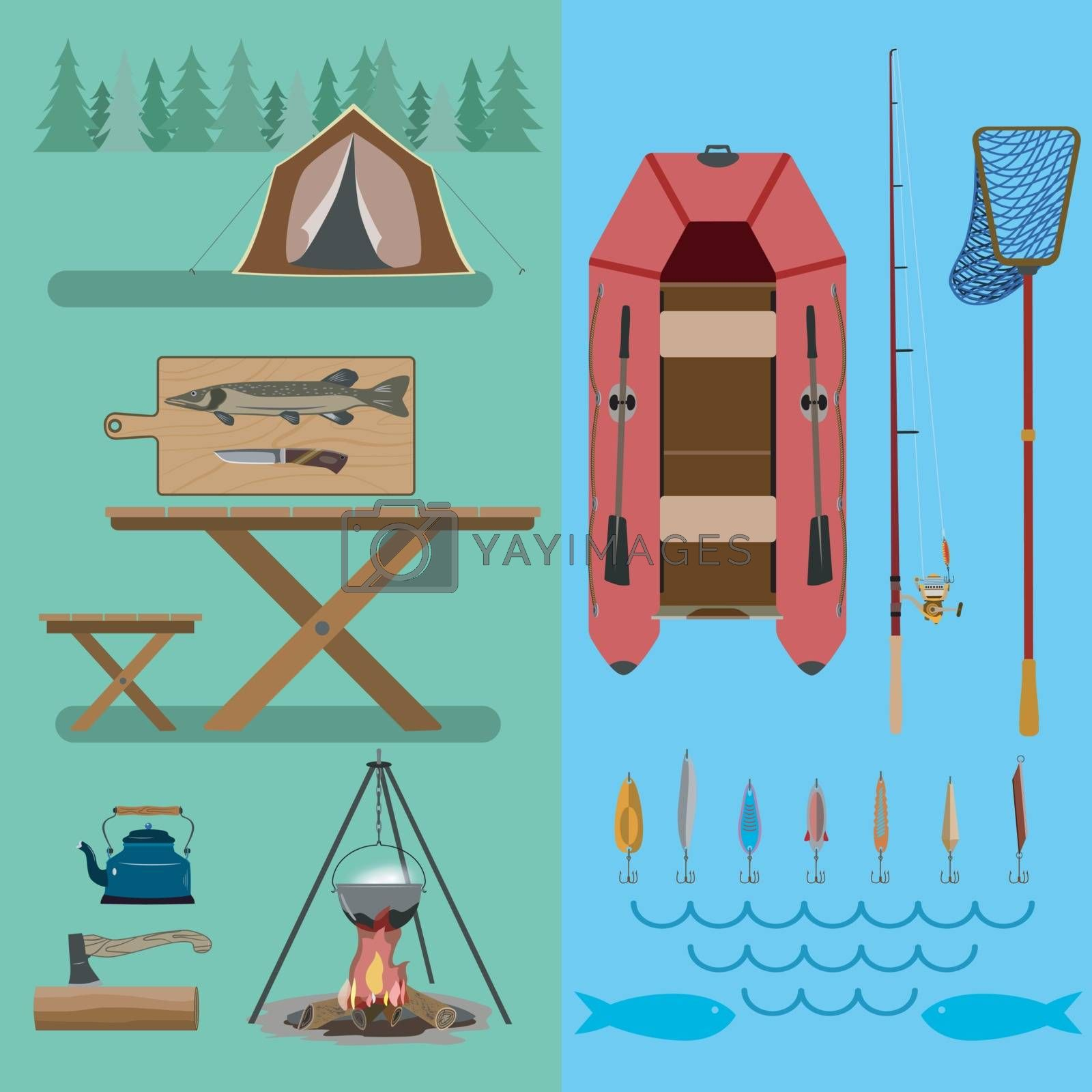 <font><font>        Набор аксессуаров с лодкой для путешествий по лесу и рекам. </font><font>Для активных и любящих природу людей. </font><font>Плоский рисунок.</font></font>