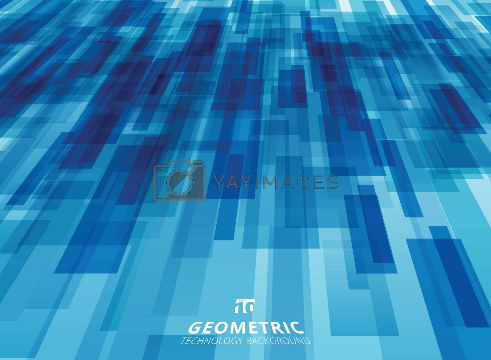 Abstract technology diagonally overlapped geometric squares shape perspective blue colour background. Vector graphic illustration