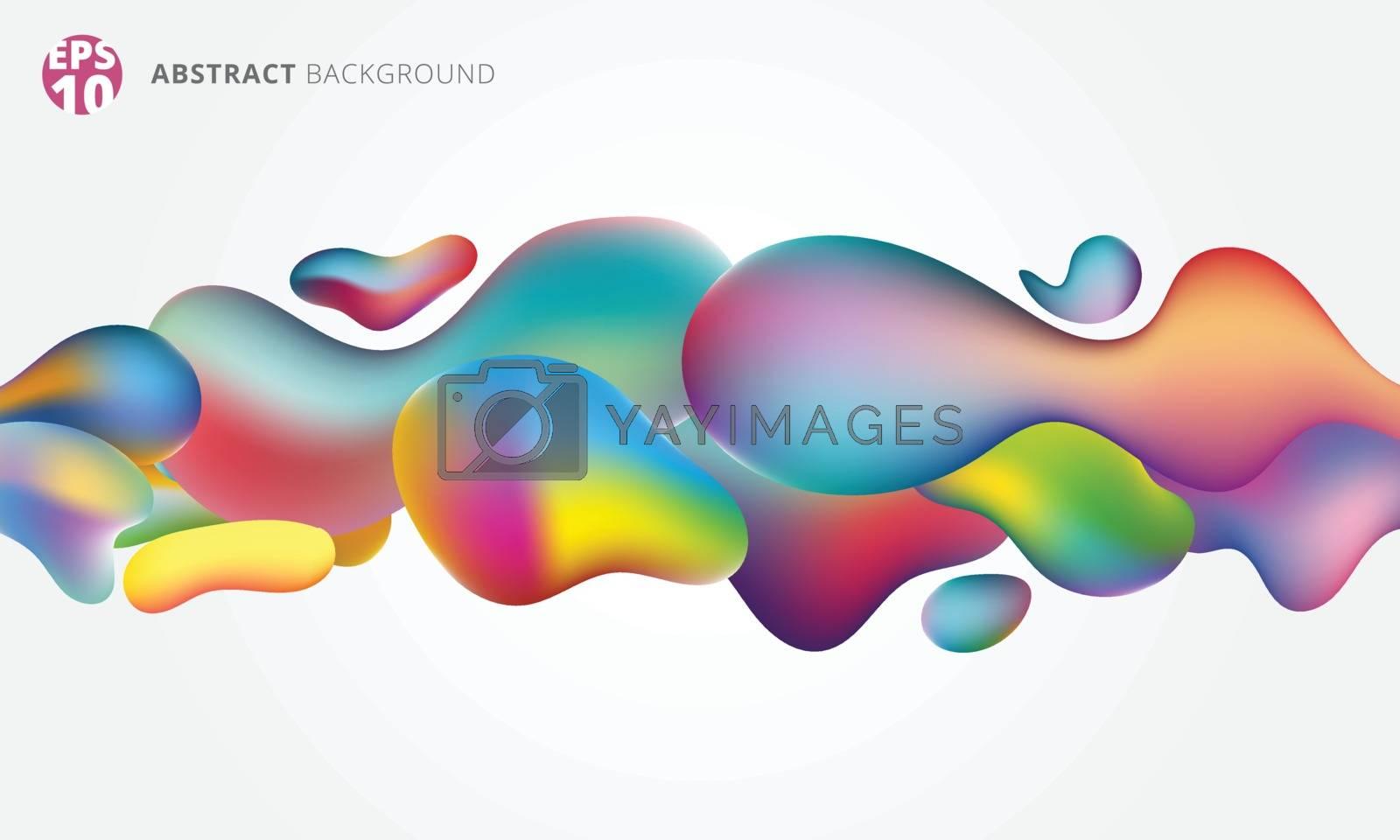 abstract 3d fluid splash plastic shape colorful on white background. Vector illustration