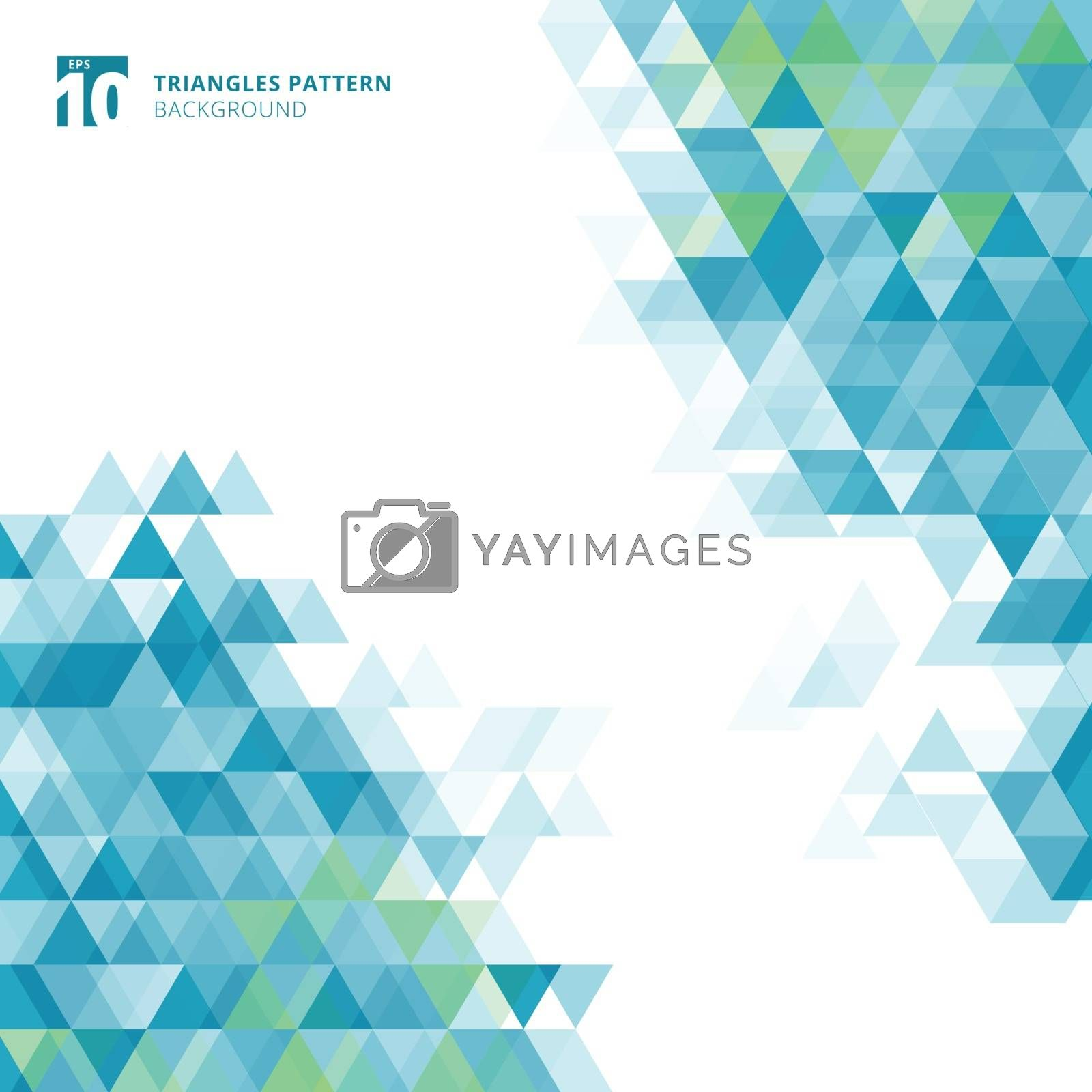 Abstract blue triangles geometric on white background. Vector illustration