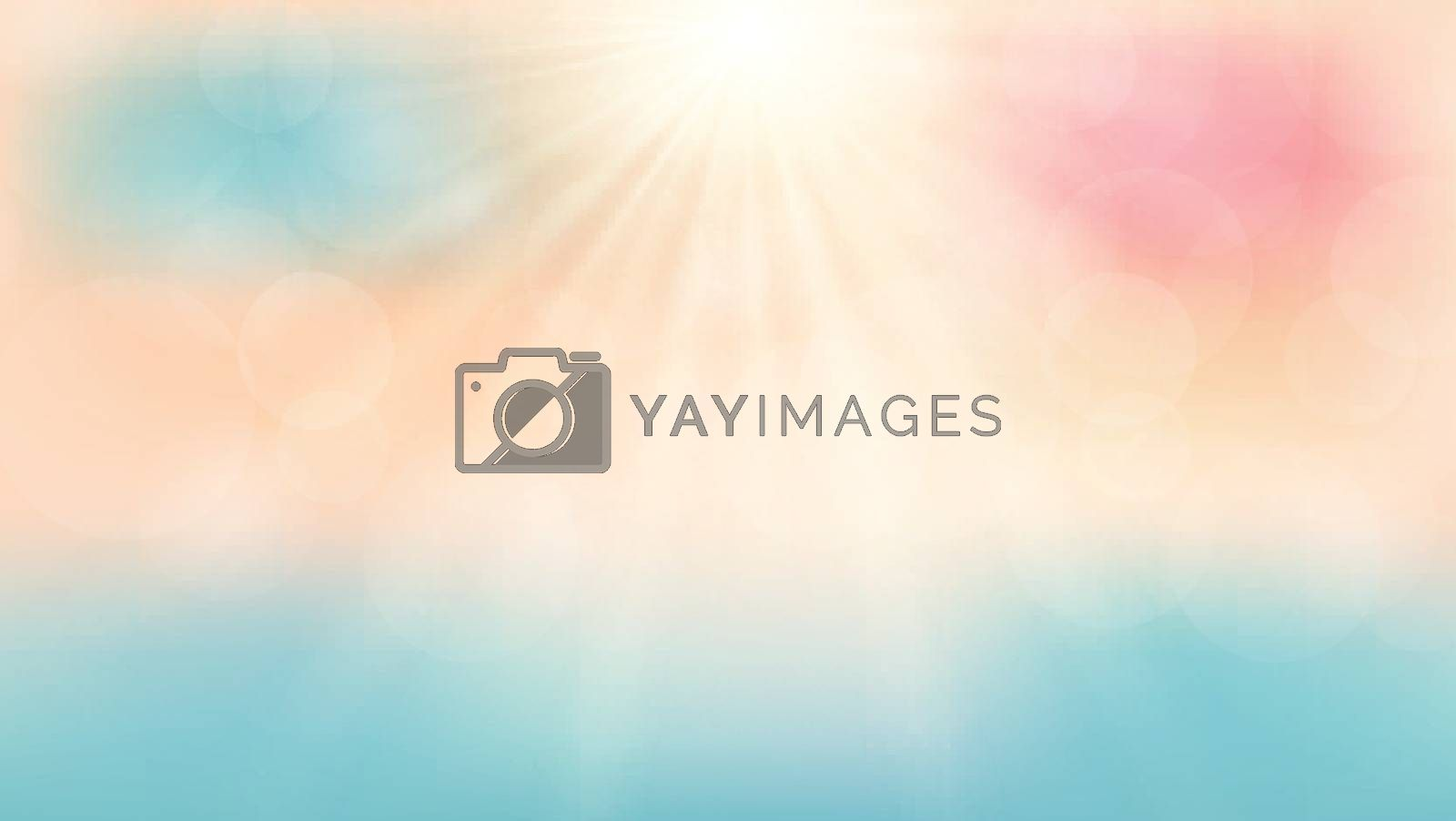 Summer season time on the beach with sunshine day background. Vector illustration