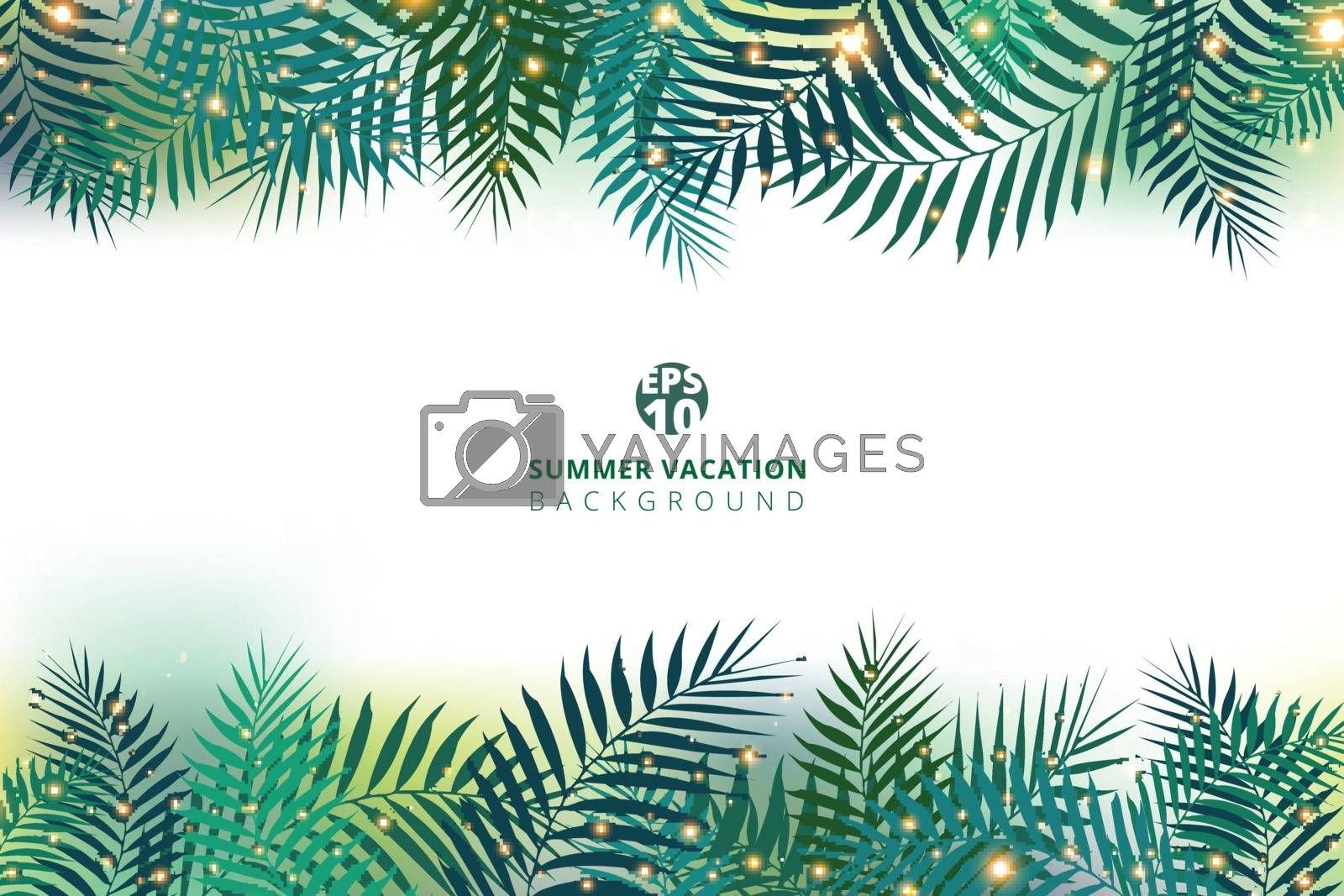 Summer time vacation and green palm leaves with lighting effect on white background. Vector illustration