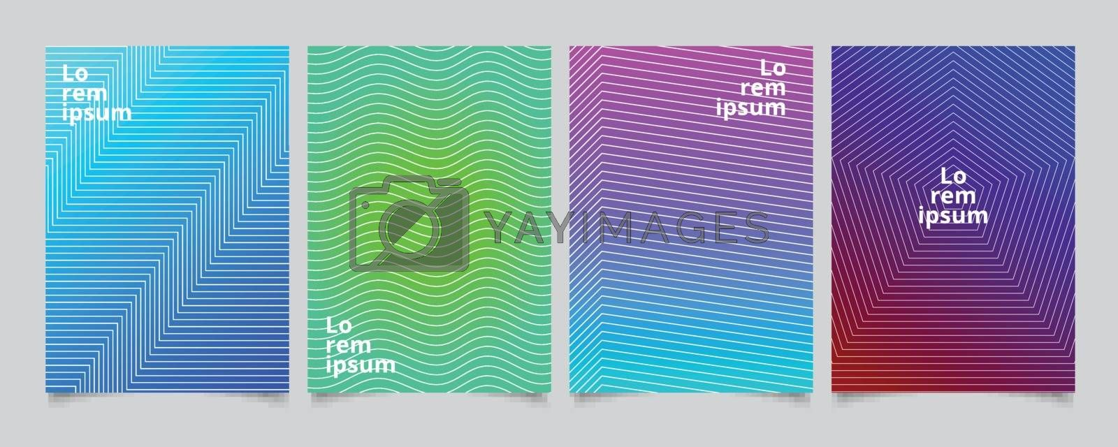 Set template minimal covers design, gradient colorful halftone with lines pattern background. Vector illustration
