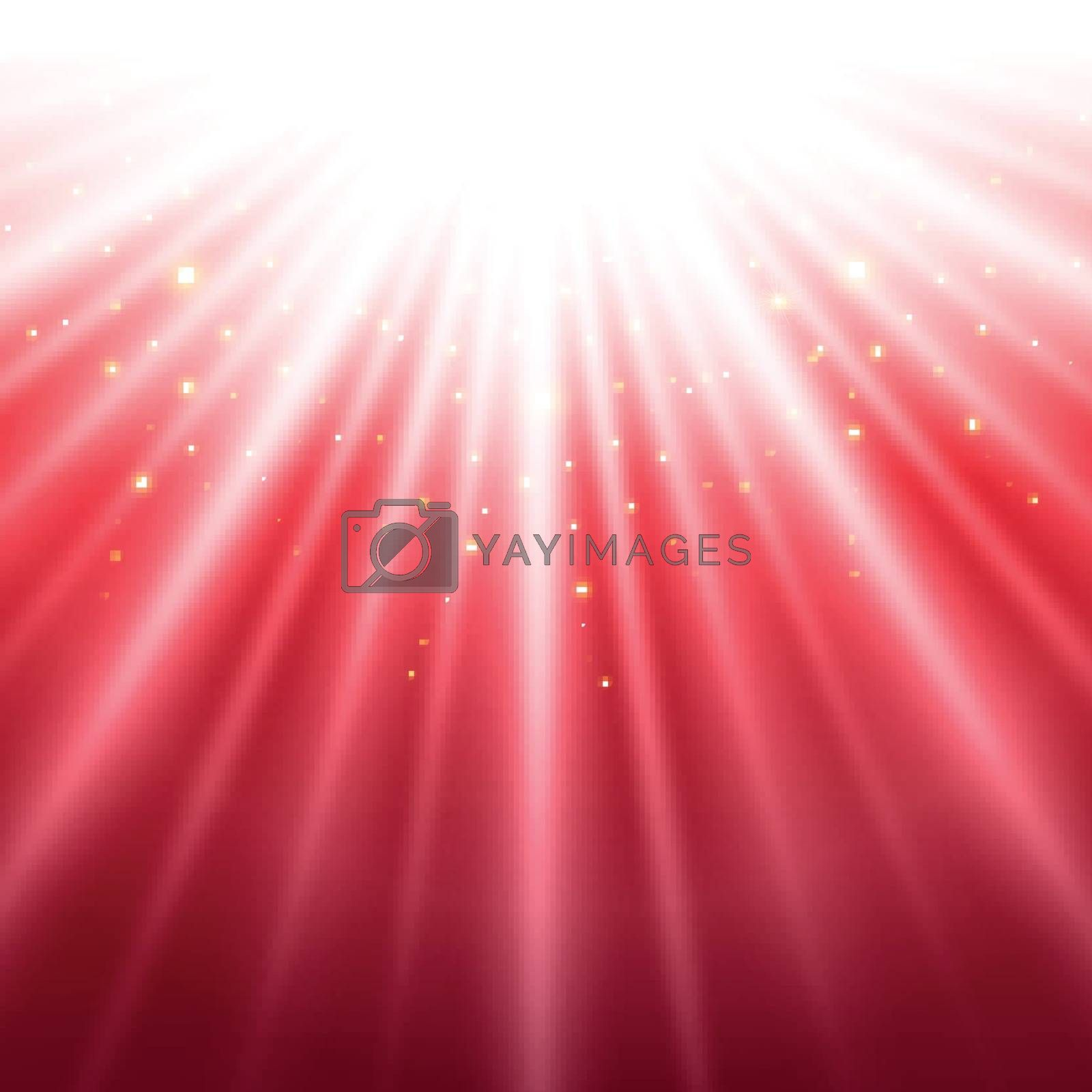 Abstract red shining light top magic with sparkling background. by phochi