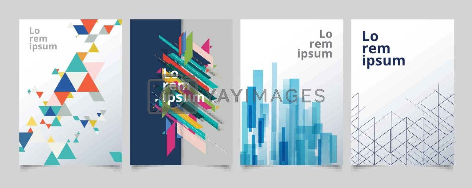 Set template geometric covers design, gradient colorful halftone by phochi
