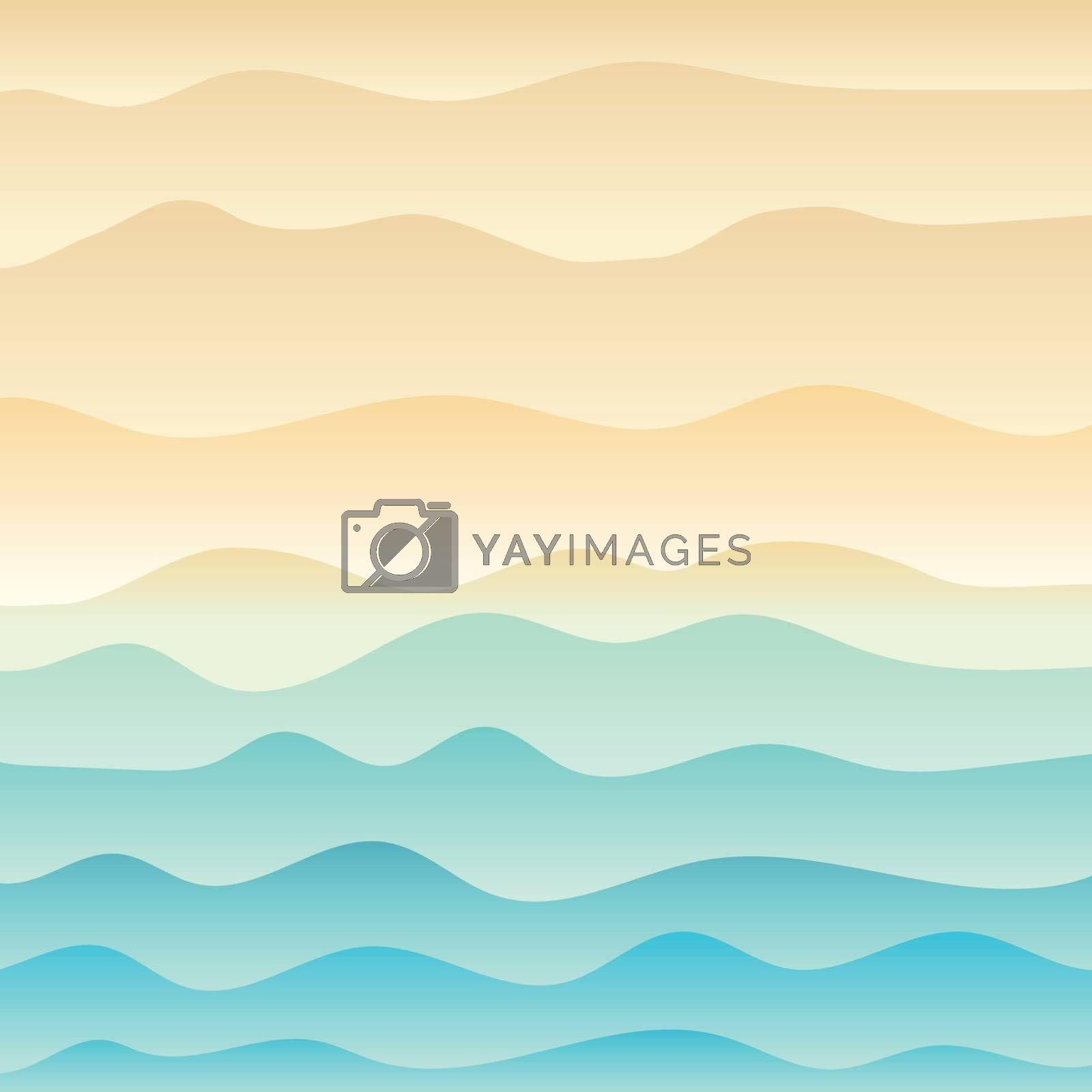 Tropical beach and wave blue sea background. Vector illustration