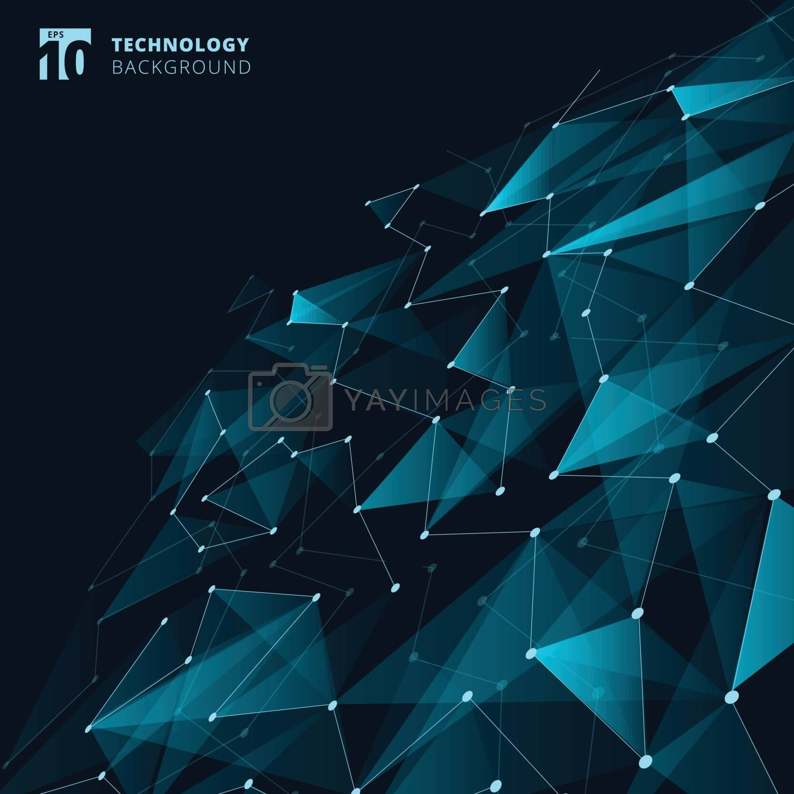 Abstract technology blue color triangles and low polygon with lines connecting dots structure perspective on dark background. Vector illustration