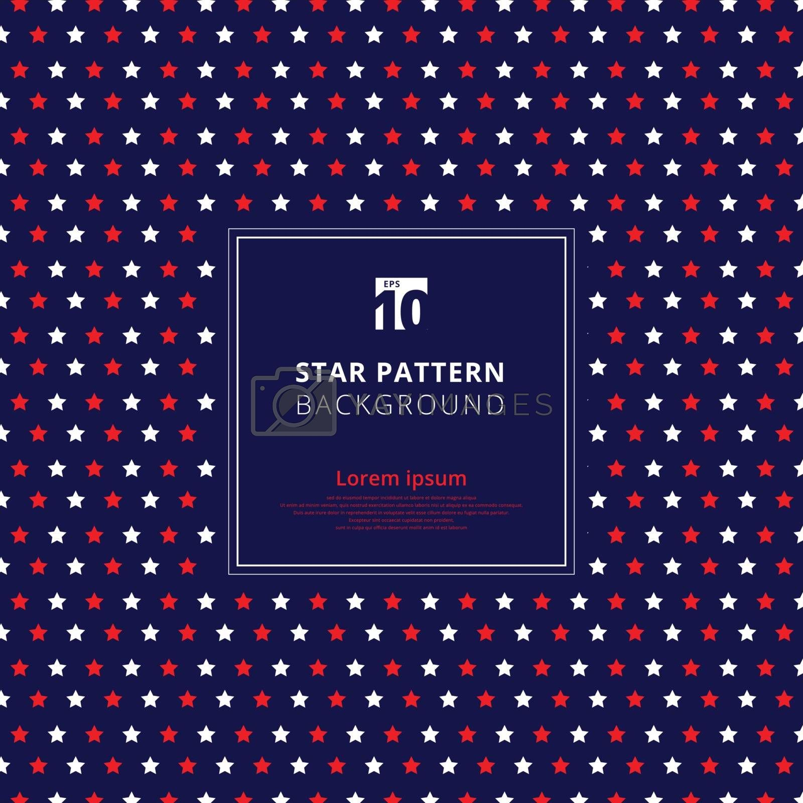 Abstract red and white star pattern on blue background, American by phochi
