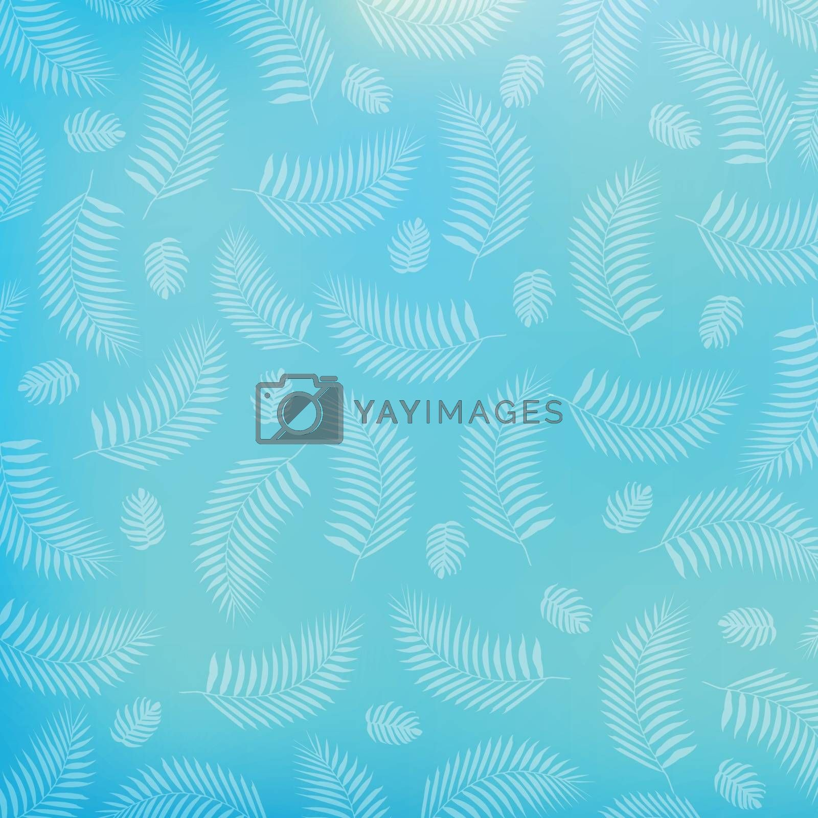 Summer tropical palm leaves pattern on blue background by phochi