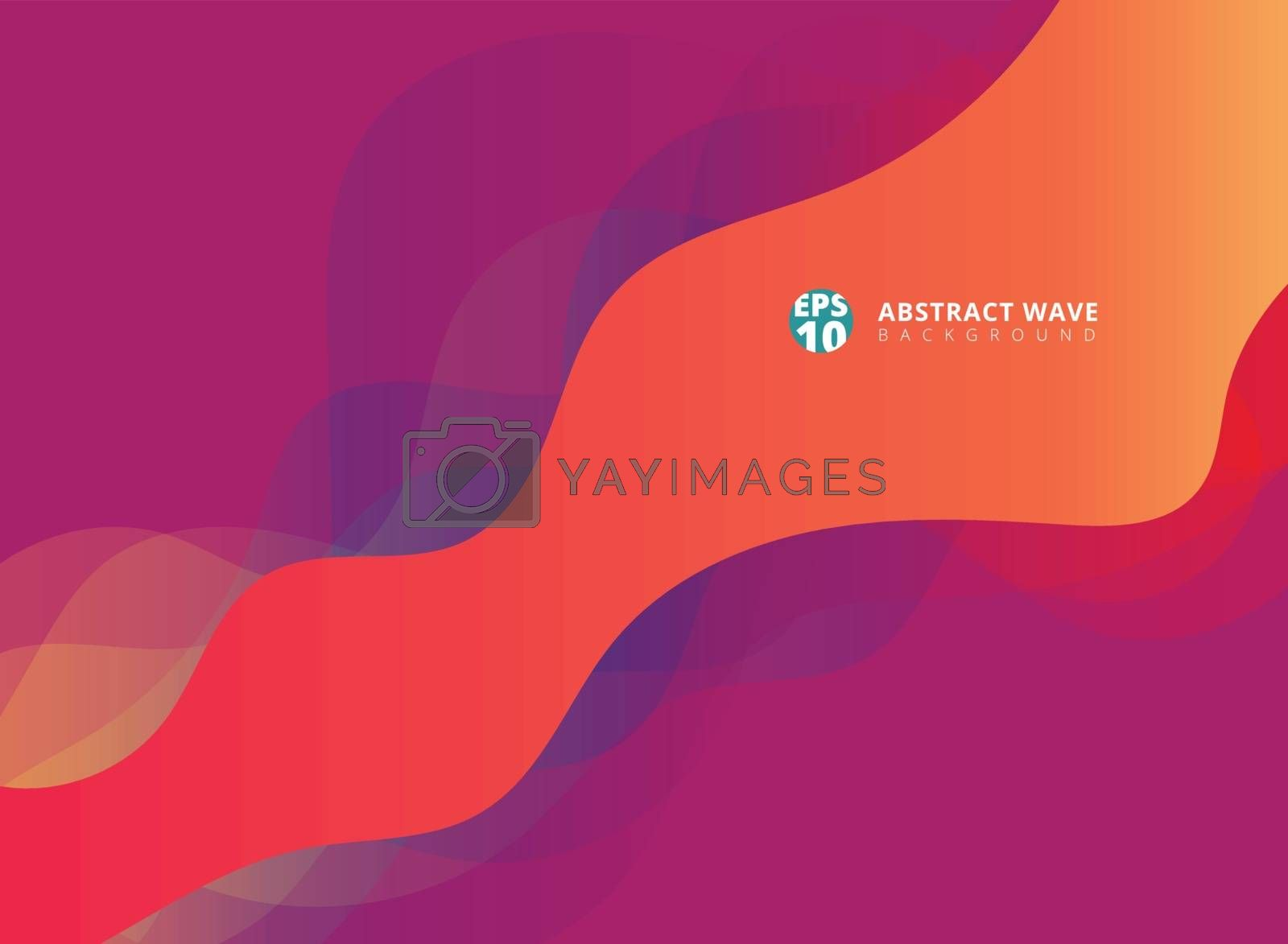 Abstract modern waves overlap on purple background. by phochi