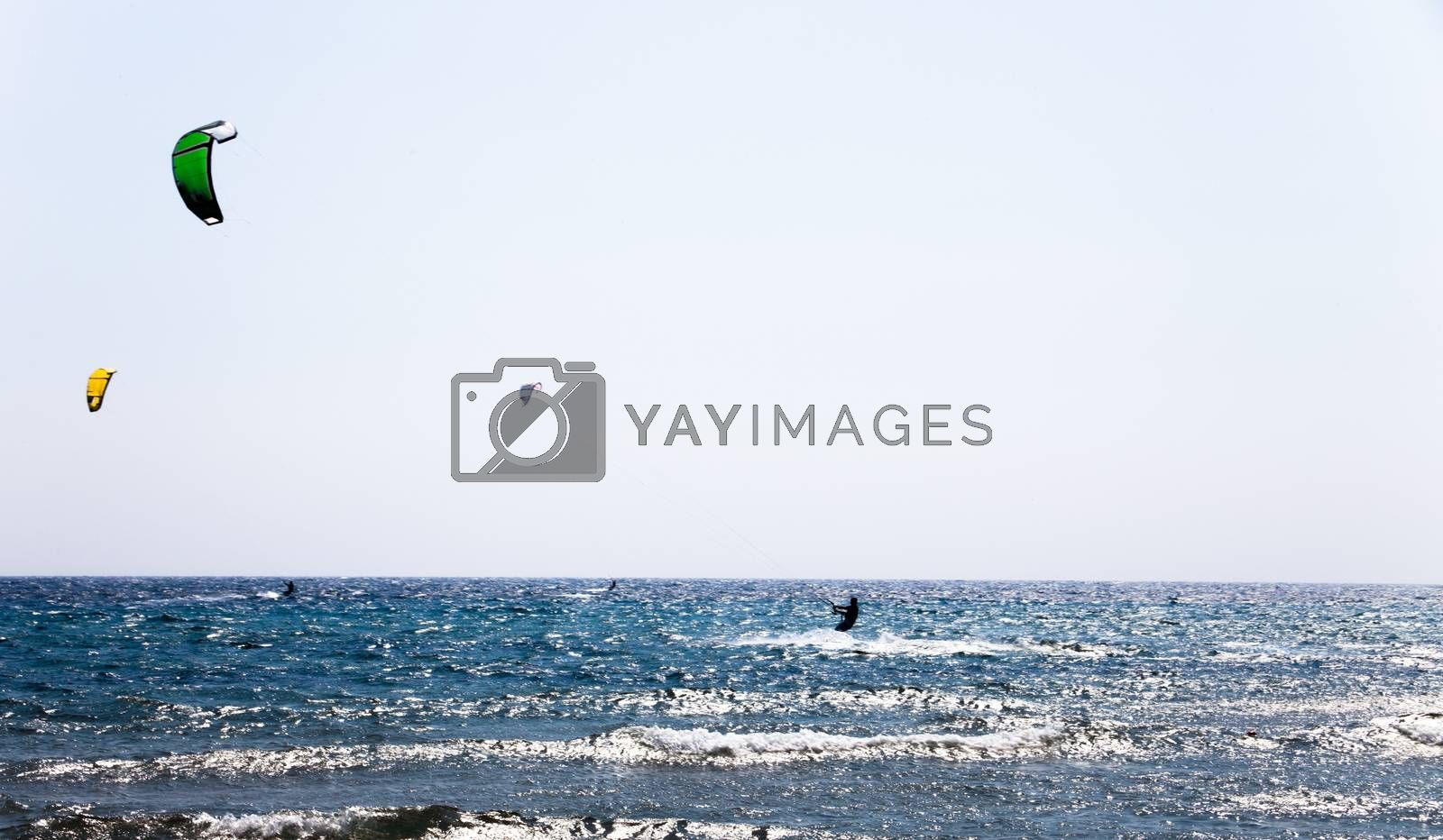 Sunny day on the blue sea with blue sky. Surfers with parachutes on the sea waves. Action sport with parachutes and surfing boards. Beautiful sunny day on the sea with waves.