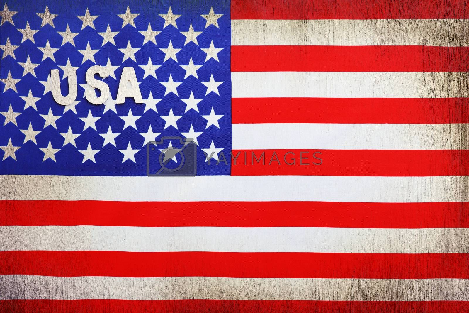 American flag, grunge style background with text space, national symbol, 4th of July, Independence day of America