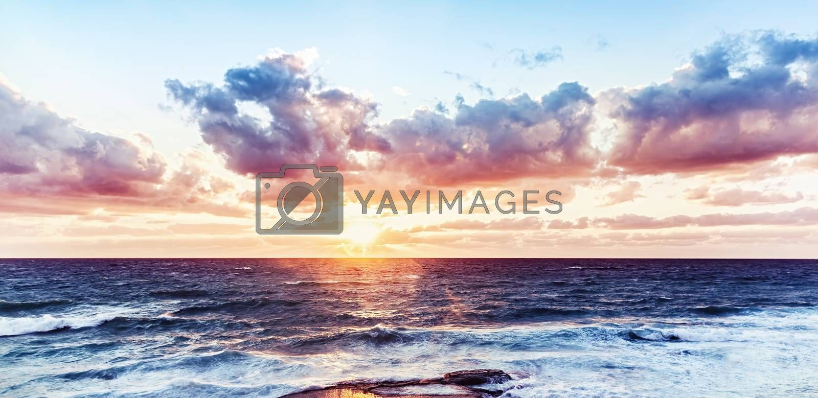 Beautiful sea landscape, dramatic sunset over water, amazing breathtaking view, panoramic scene of Mediterranean sea