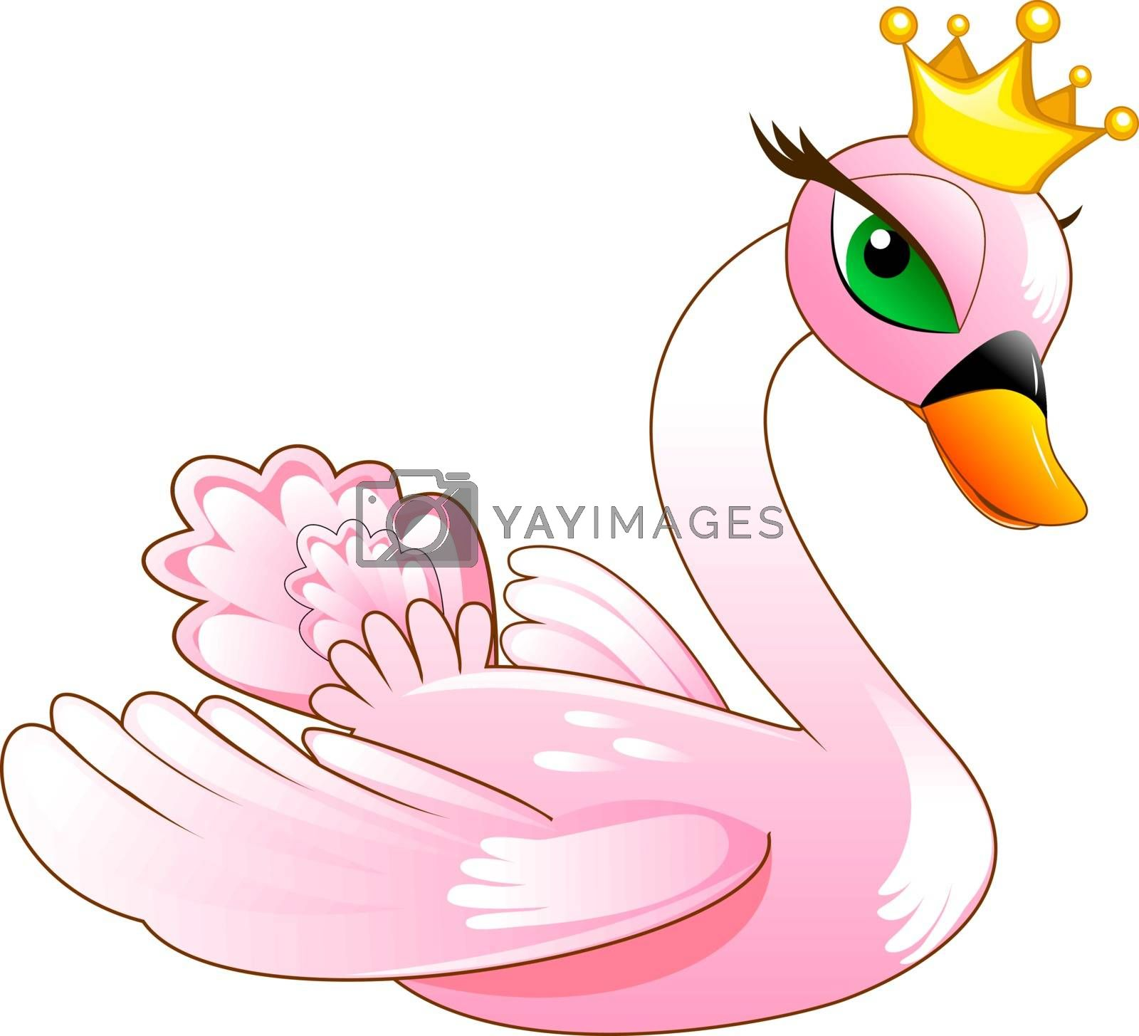 Bird swan. Cartoon pink swan on a white background.