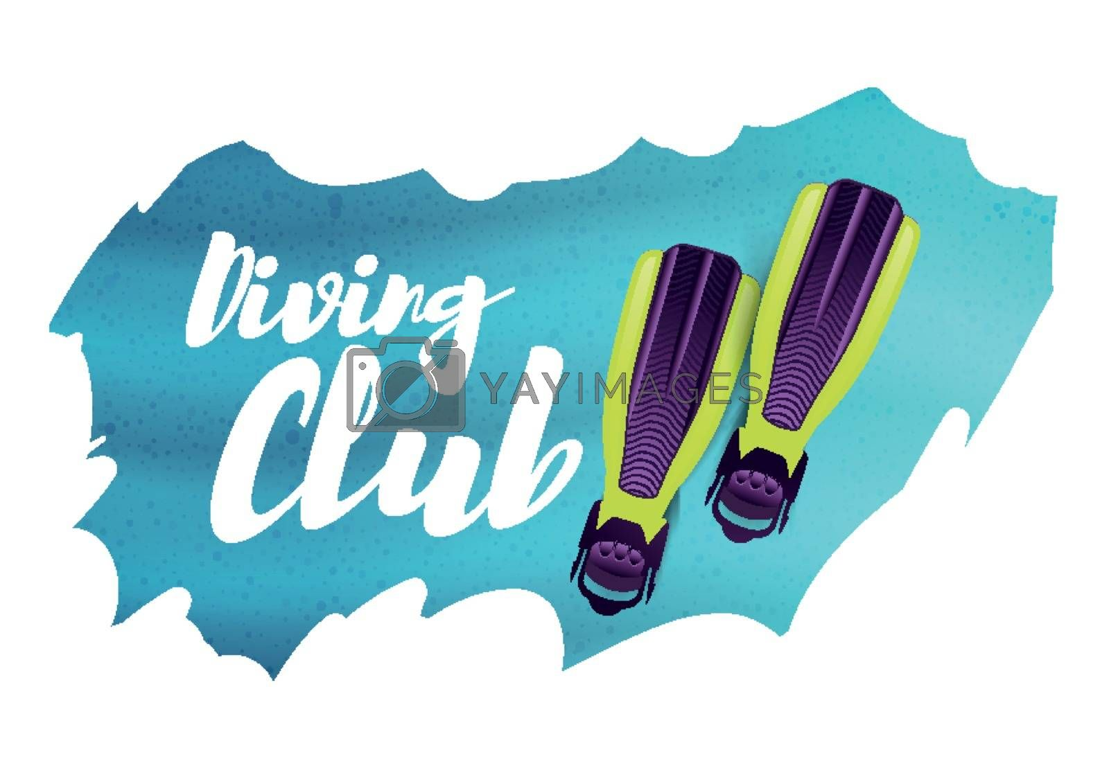 Diving club. Vector illustration with flippers on background