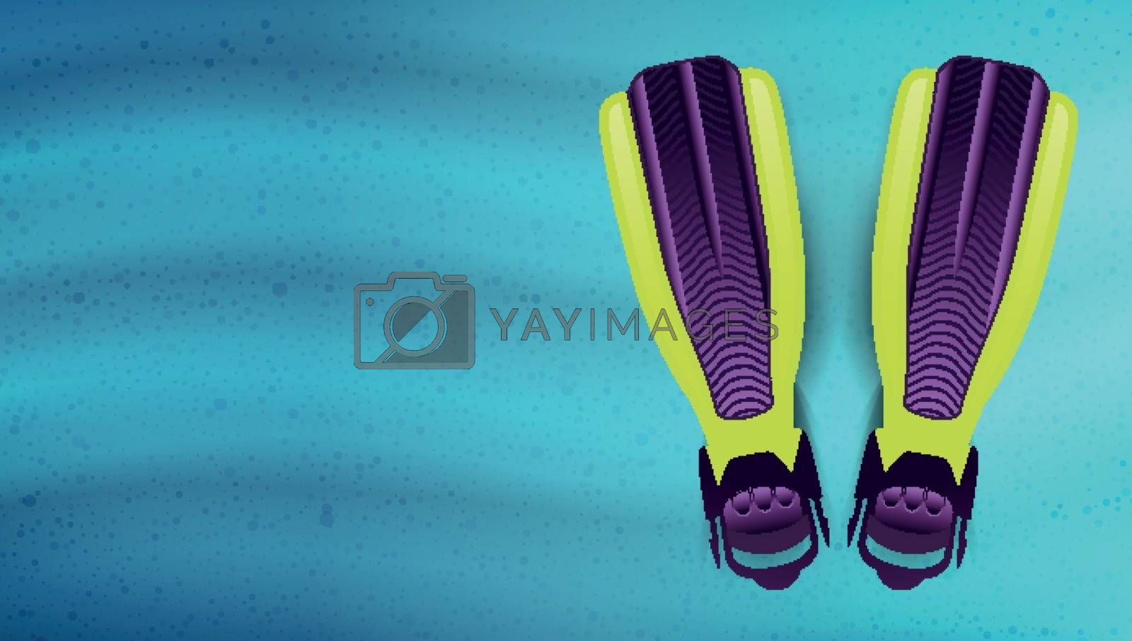 Swimming flippers under the water. Vector illustration