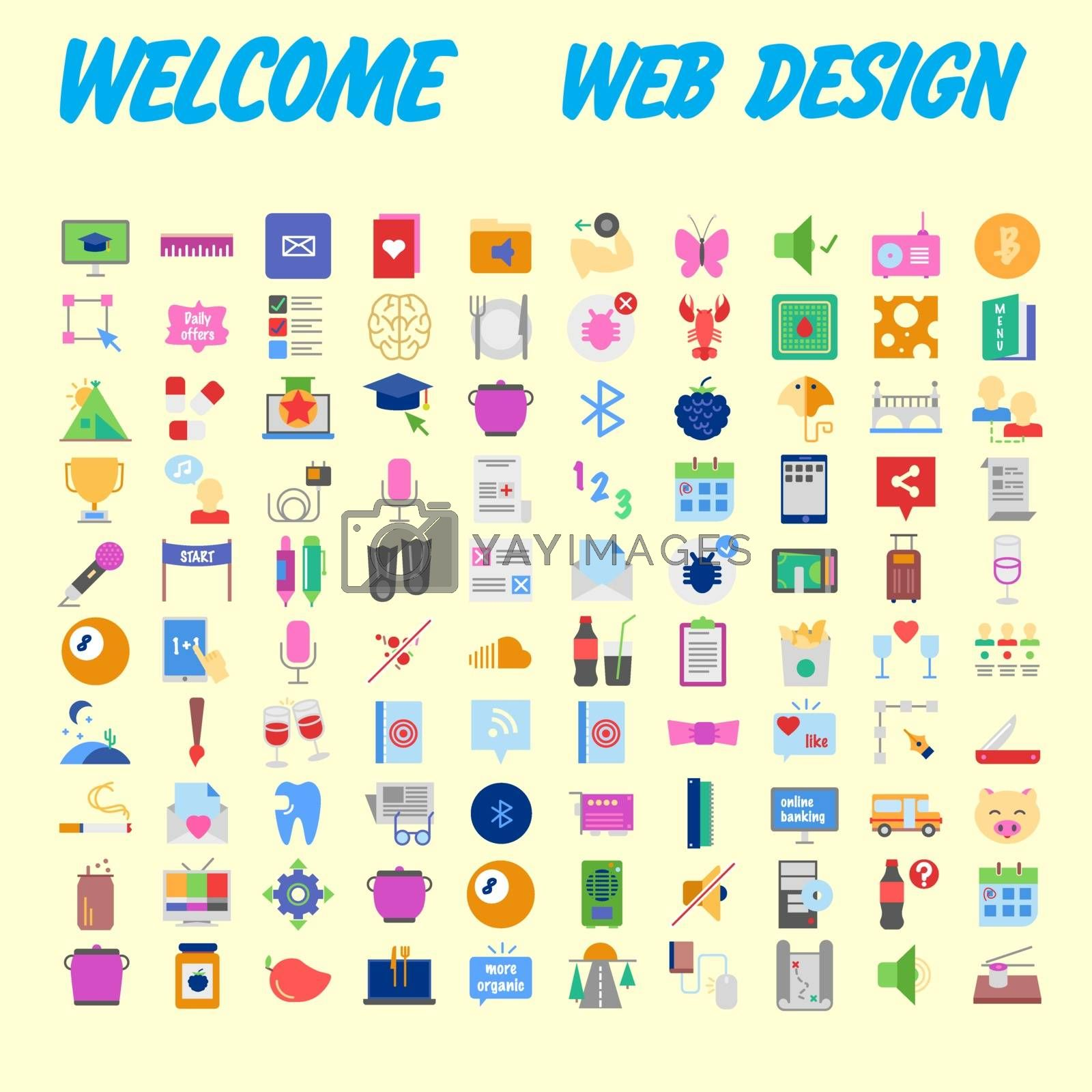 Simple set of vector flat line icons. Contains such Icons as Business, Marketing Shopping Banking E-commerce SEO Technology Medical Education Web Development and more. Vector illustration