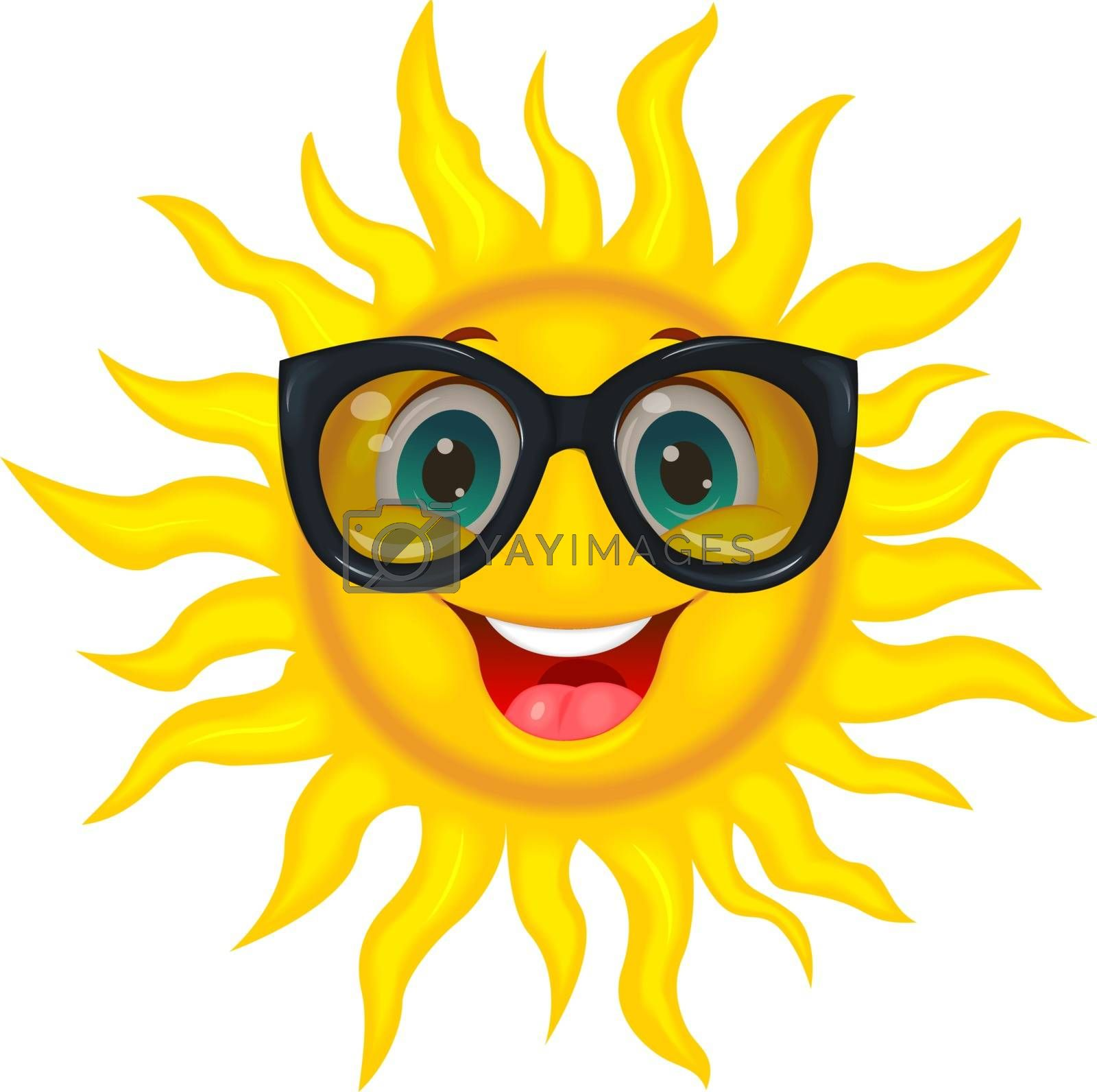 A merry cartoon sun in protective glasses from the sun. A cheerful cartoon sun on a white background.