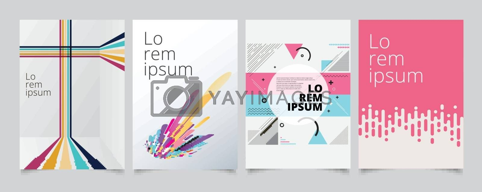 Set template geometric covers design, gradient colorful halftone with lines pattern background. Vector illustration