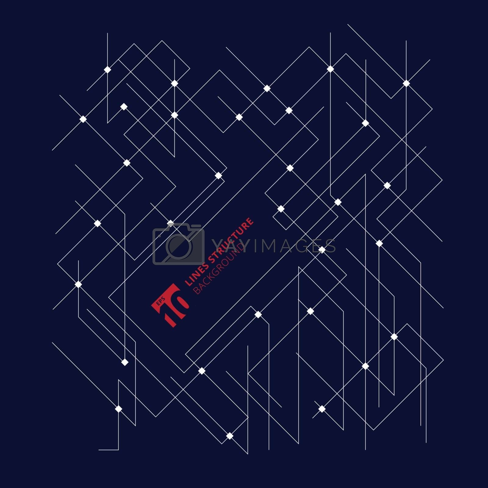 Abstract architecture lines dimensional structure on dark blue background. Vector illustration
