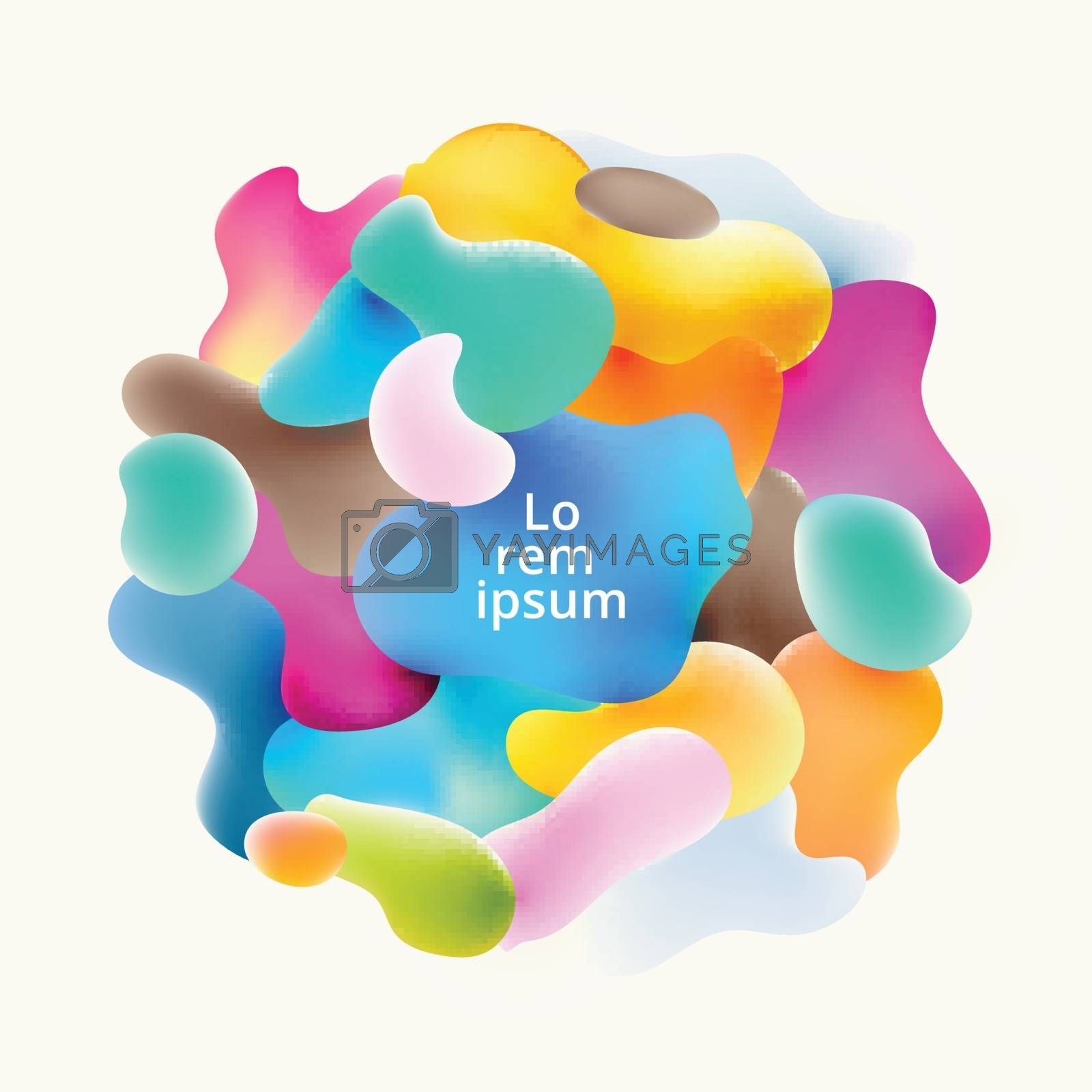Abstract fluid colorful bubbles shapes overlap on white background. Vector illustration