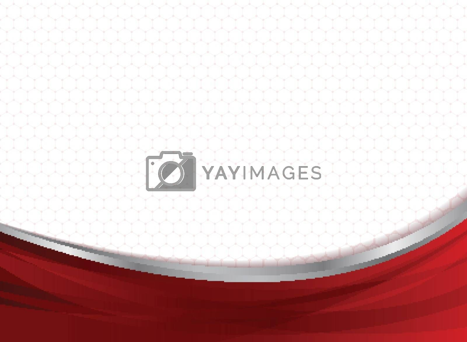 Abstract technology business red curve on hexagons pattern background. Vector illustration