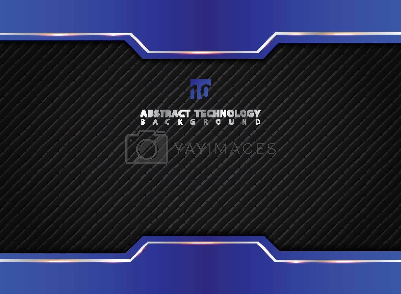 Template blue and black contrast abstract technology background. Vector illustration