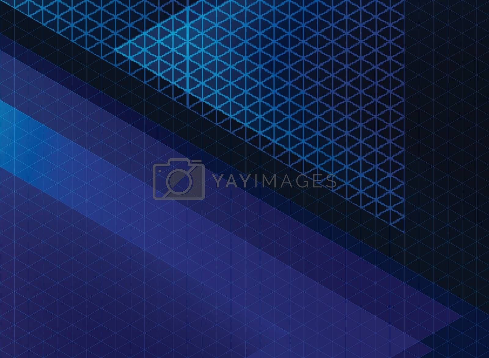Abstract technology blue triangles pattern on dark background. Vector illustration