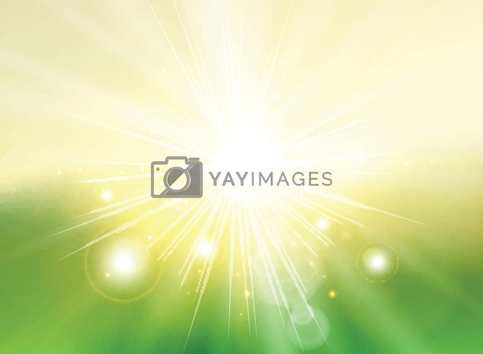 Sky with sunlight rays twilight blurred green gradient abstract background landscape. Spring summer. Vector illustration