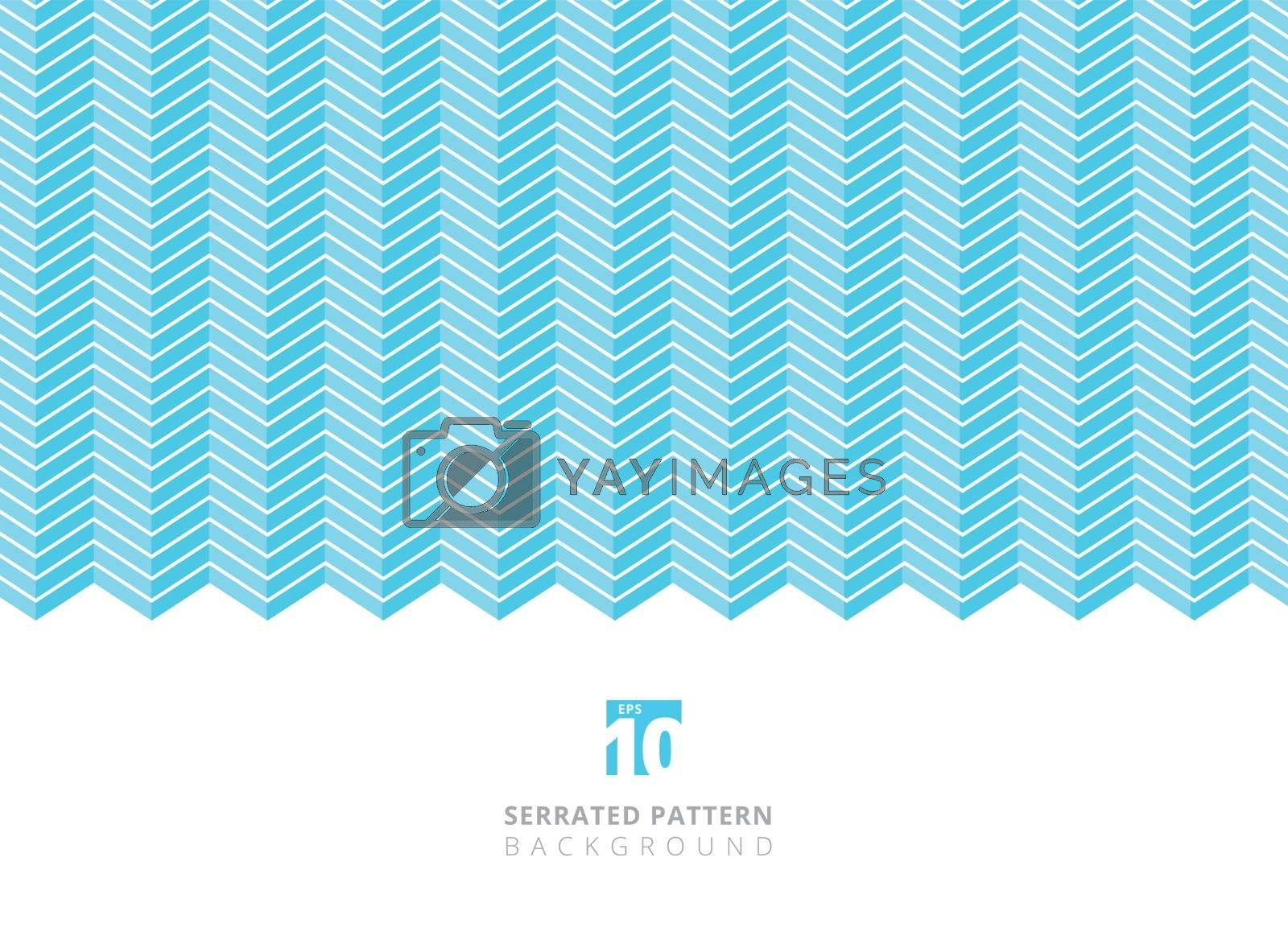 Abstract white color serrated lines pattern on blue background with copy space. vector illustration