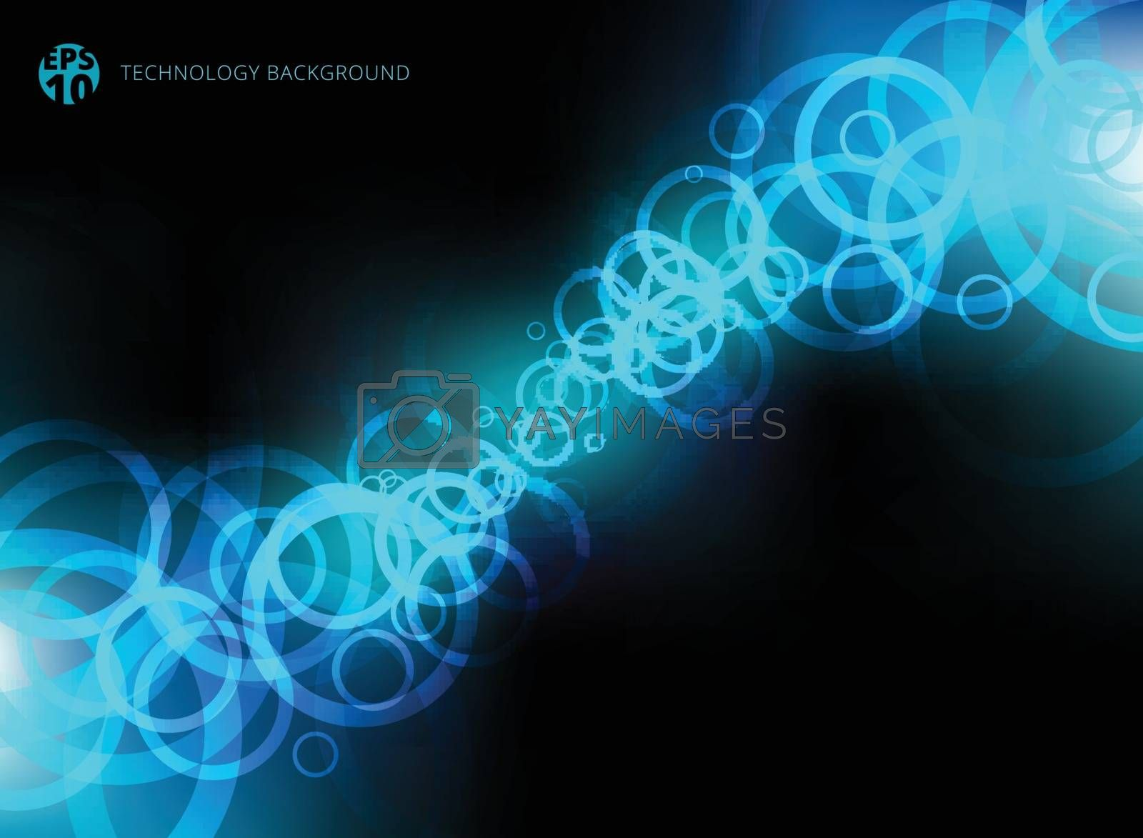 Abstract technology blue circles motion on black background. You can use for design print, brochure, poster, banner, website. Vector illustration