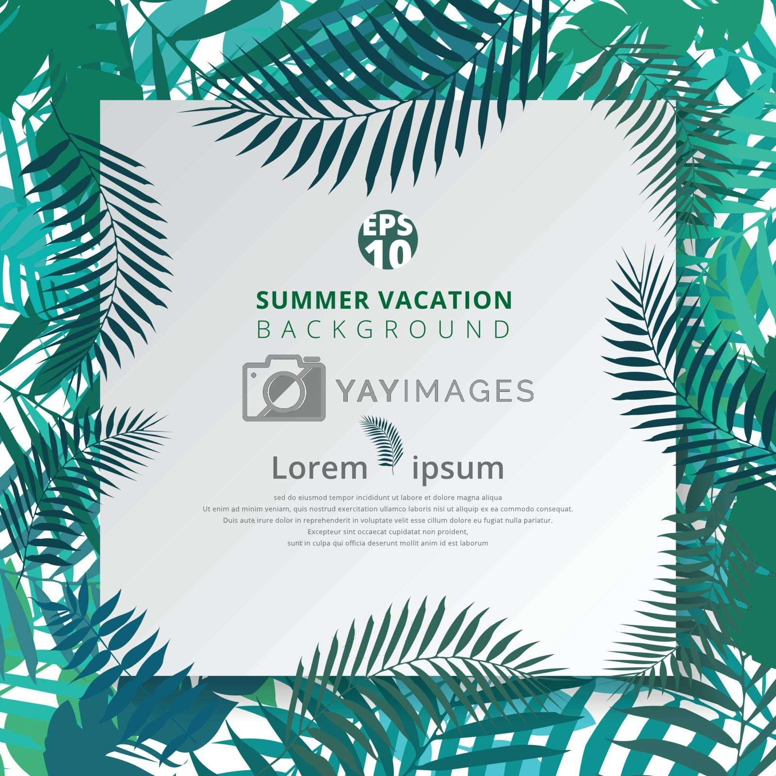 summer tropical with exotic palm leaves or plants on white paper background. Vector illustration