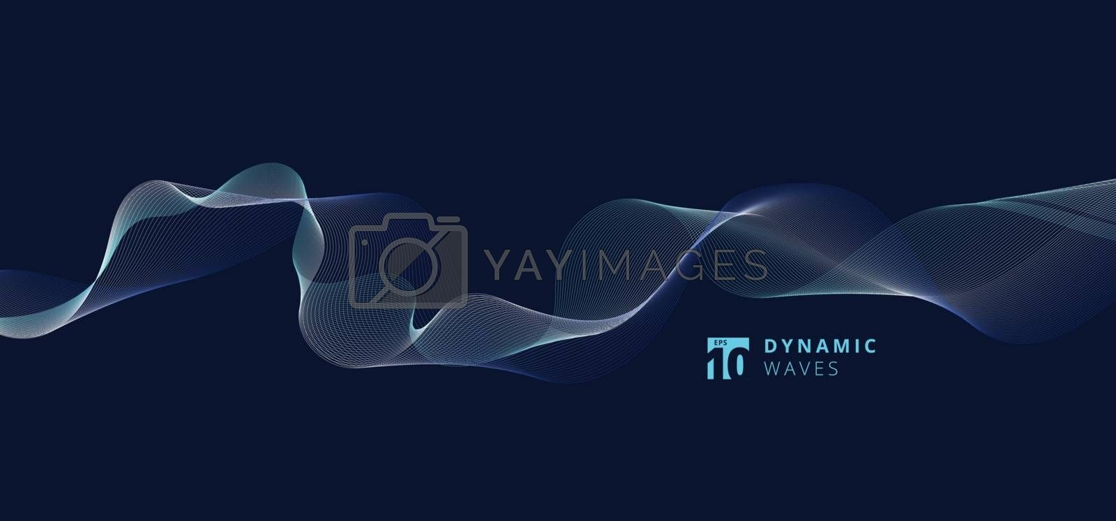 Abstract lines dynamic waves pattern on blue background. Vector illustration