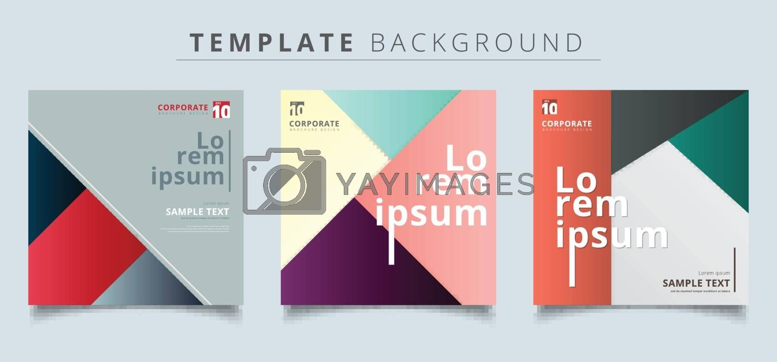 Set of abstract geometric layout minimal style background. by phochi