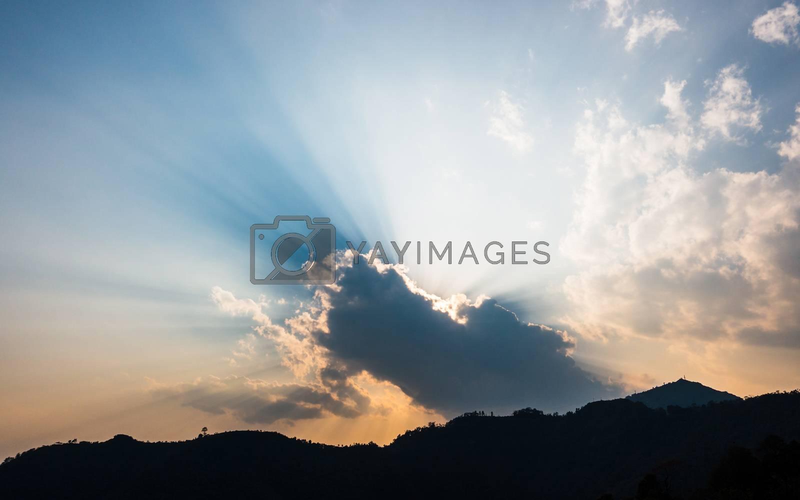 Dramatic sunset sky near Pokhara, Nepal