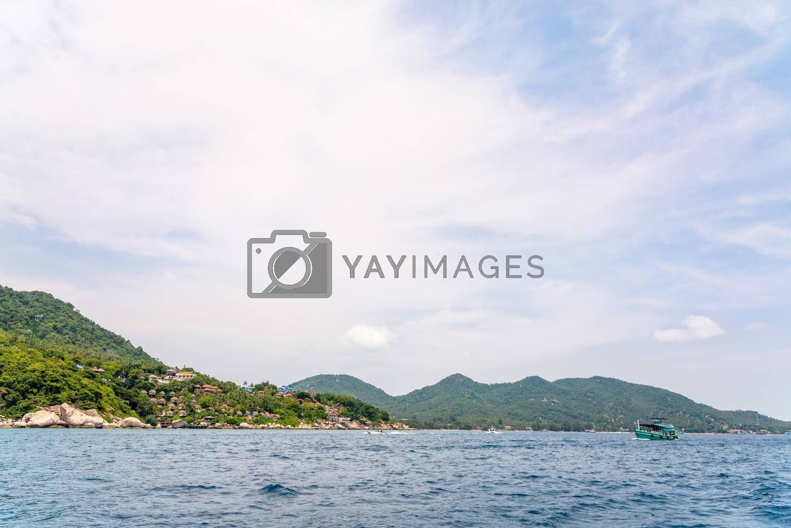 Beautiful natural landscape of Koh Tao island and blue sea in the summer at the Gulf of Thailand, Ko Pha-ngan, Surat Thani Province, Thailand