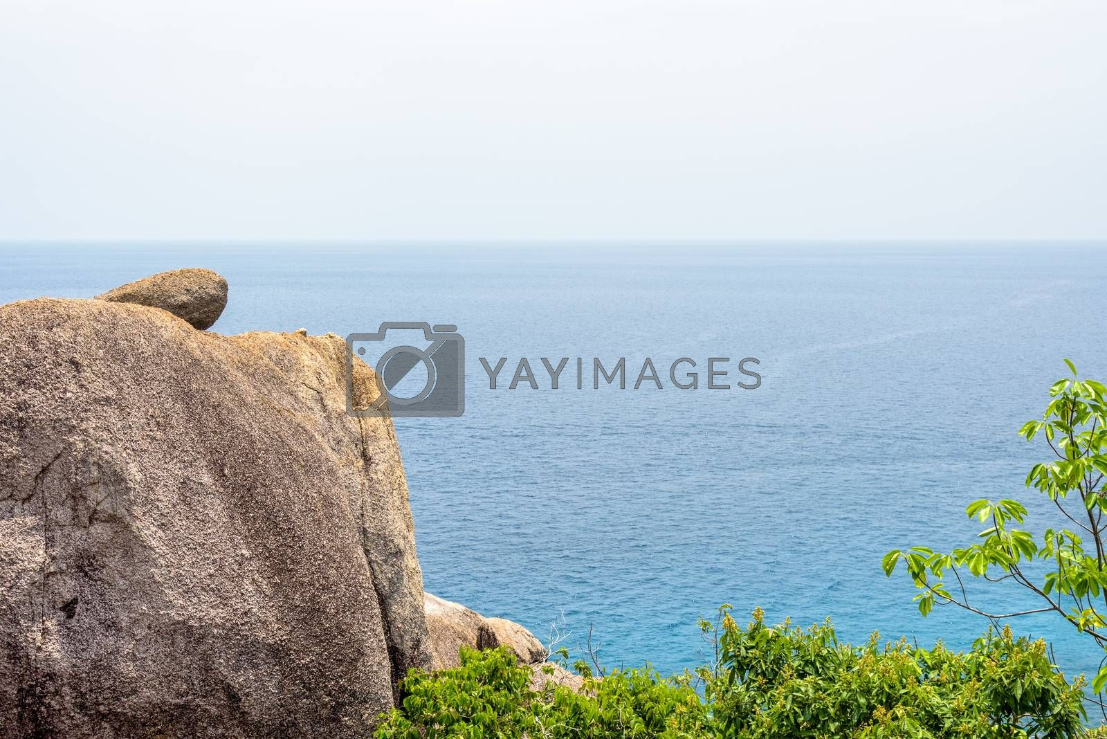 High angle view beautiful nature landscape blue sea and stone on viewpoint at Koh Nang Yuan Island for background