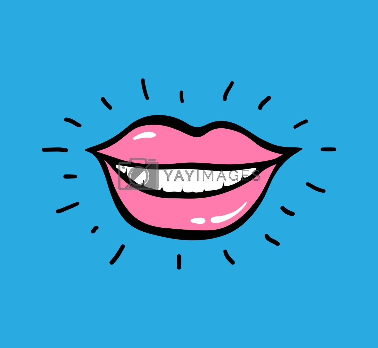 Pop art vector red lips on yellow background with text Ha Ha Ha. Emotion Loud Laughter To Tears