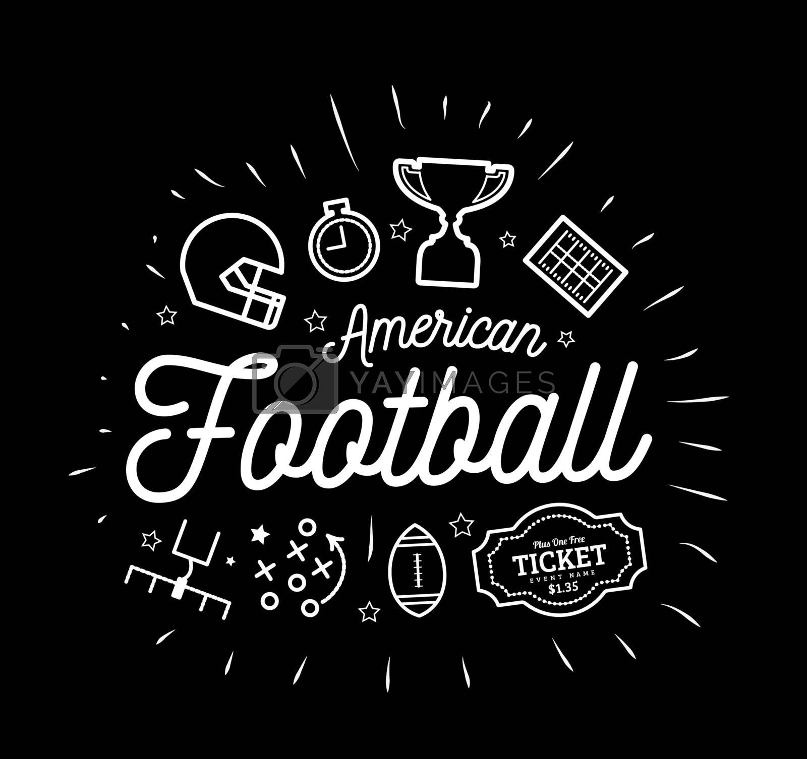 American football. Vector illustration in the style of thin lines with flat icons in black and white on black background