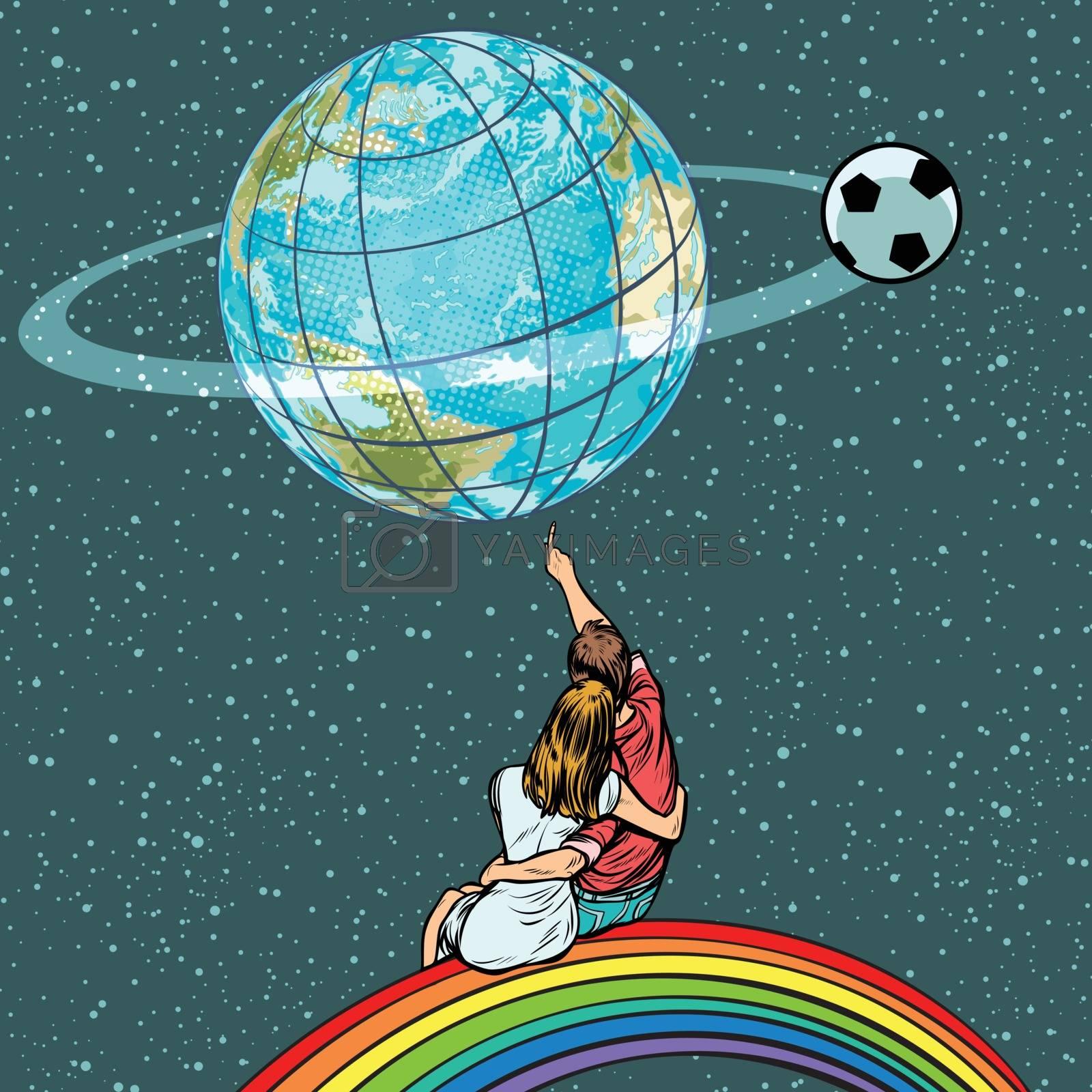 fans watch the football championship. Pop art retro vector illustration kitsch vintage