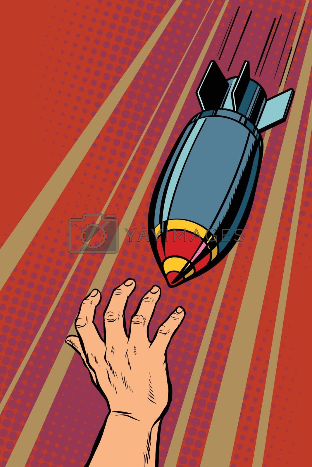 War bombs falling on people. Pop art retro vector illustration vintage kitsch drawing
