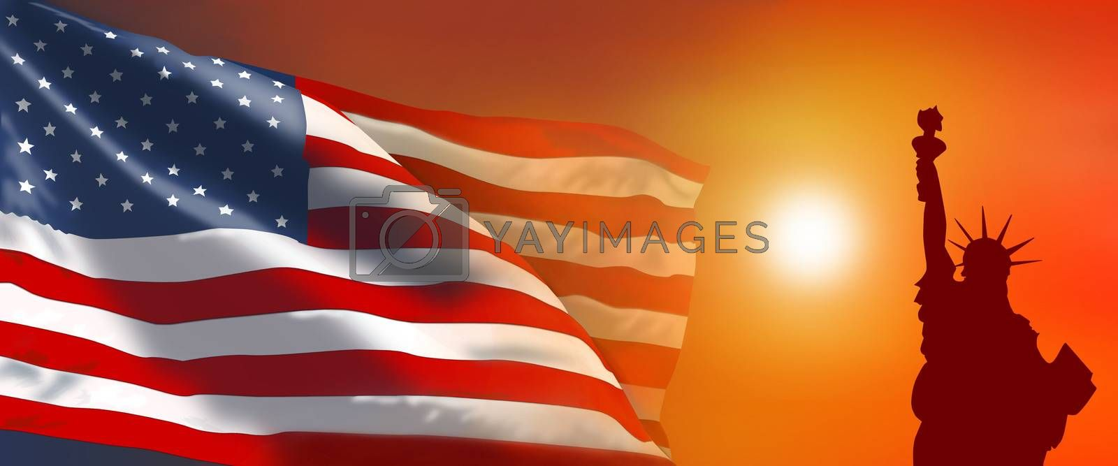 American flag and Statue of Liberty at sunset. American flag on a sunset background. American flag against the background of the sun.