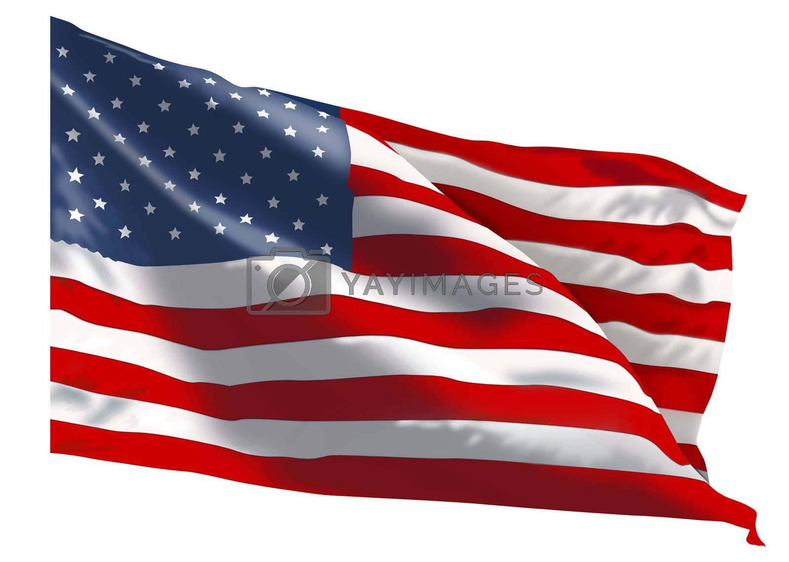 American flag on a white background . The national flag of the United States of America.